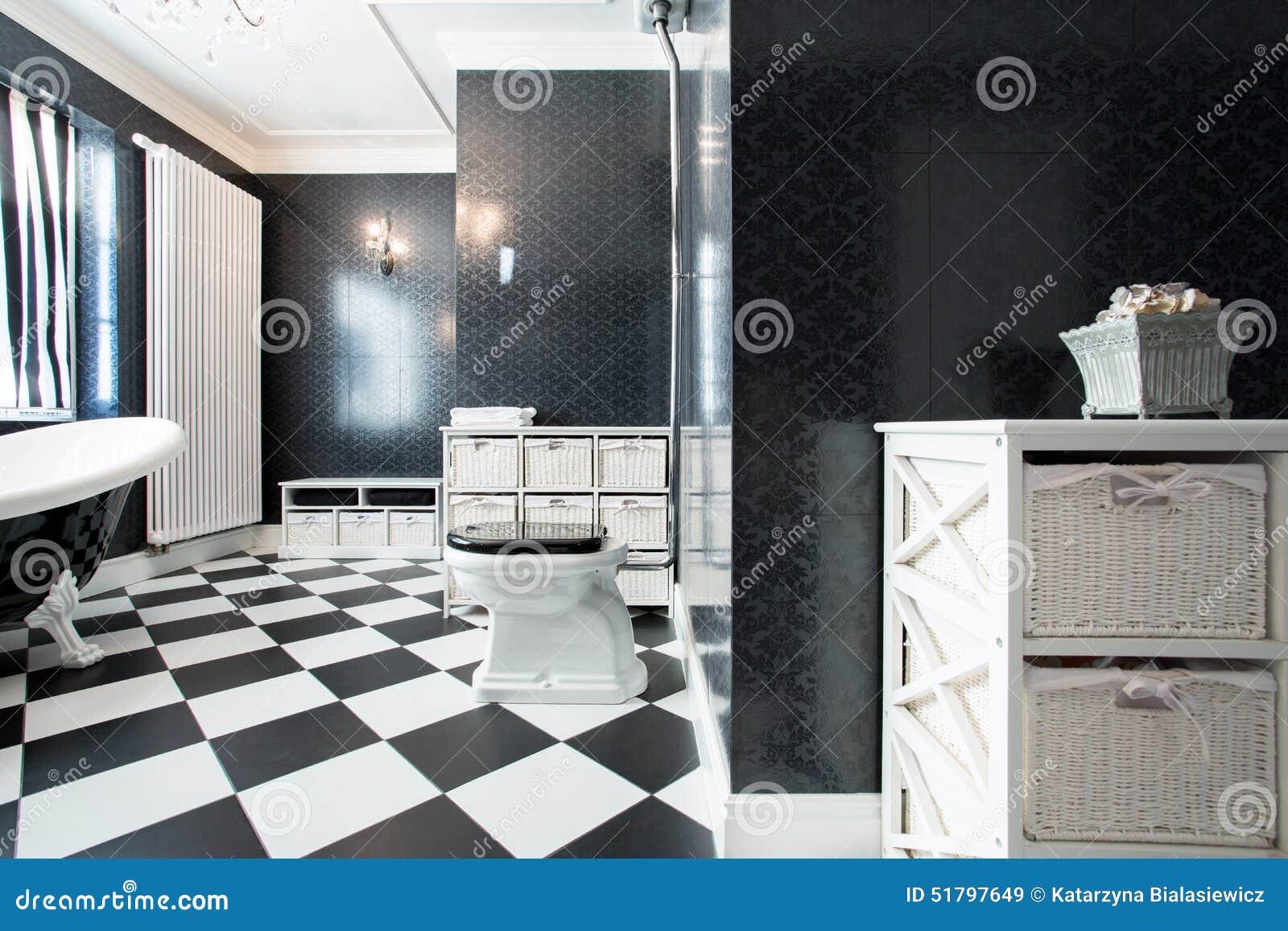 stanza da bagno in bianco e nero lussuosa fotografia stock ... - Bagni Moderni Neri