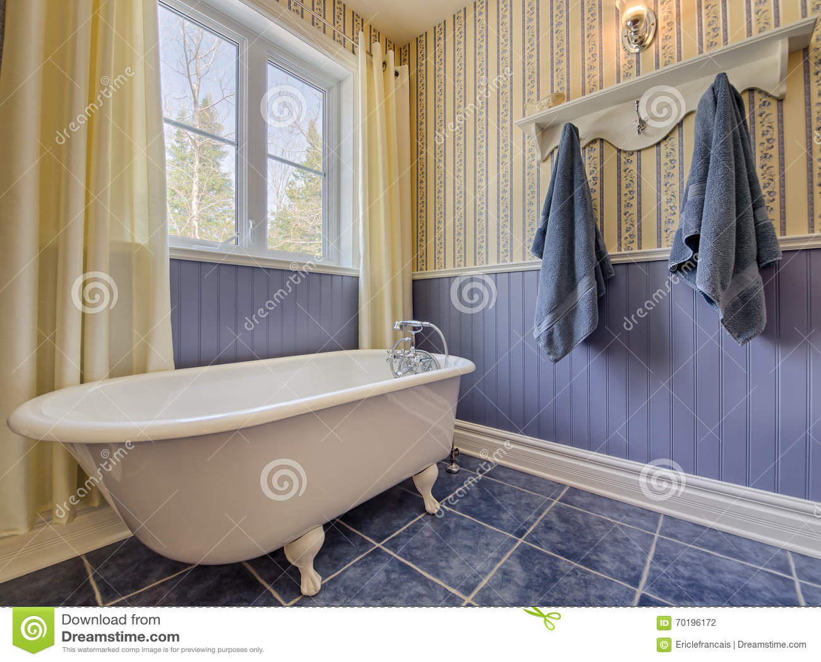 Bagno Giallo E Blu Di Stile Antico Fotografia Stock - Immagine: 70196172