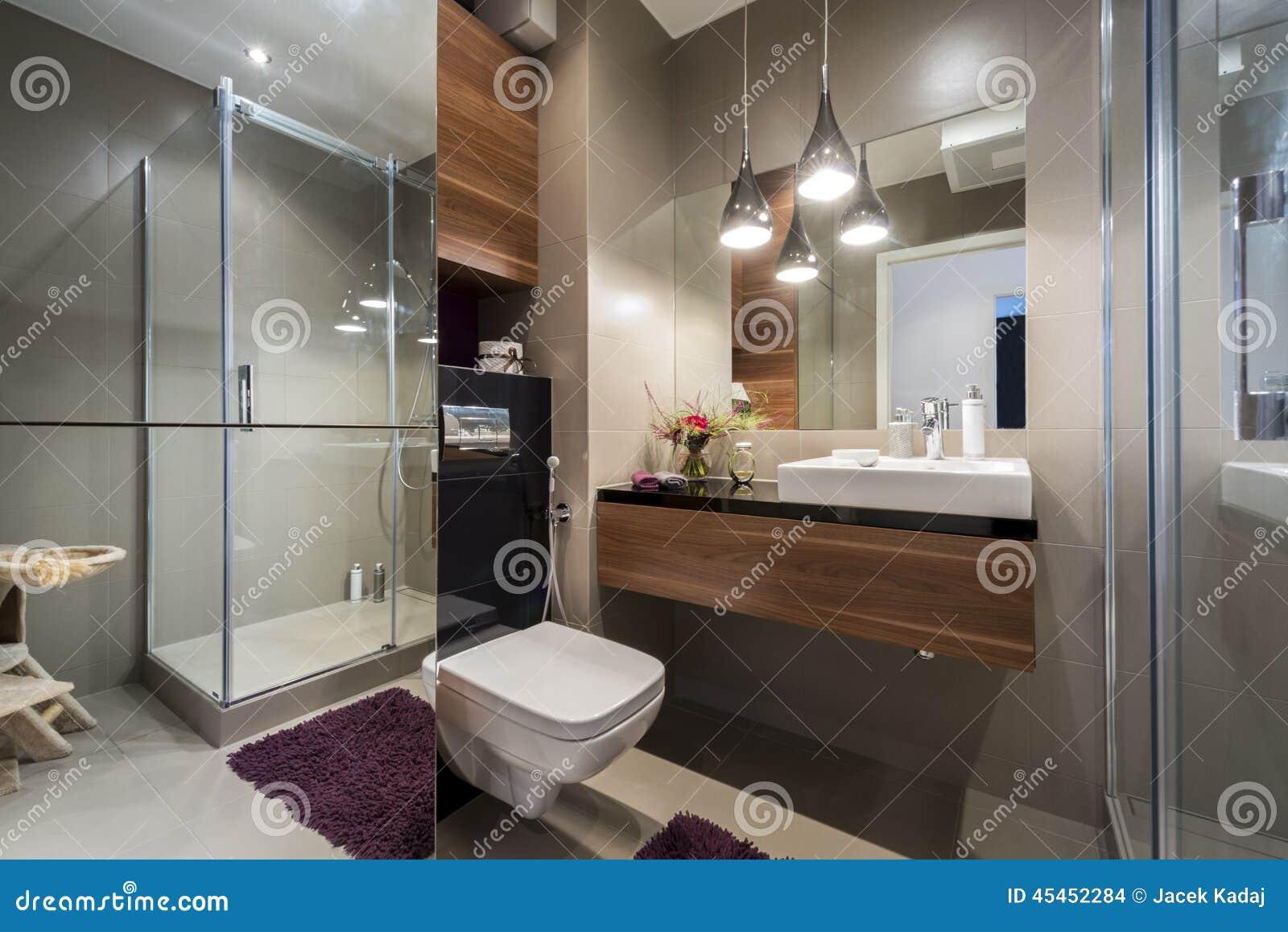 bagno grigio e beige moderno fotografia stock - immagine: 45452284 - Bagni Moderni Beige