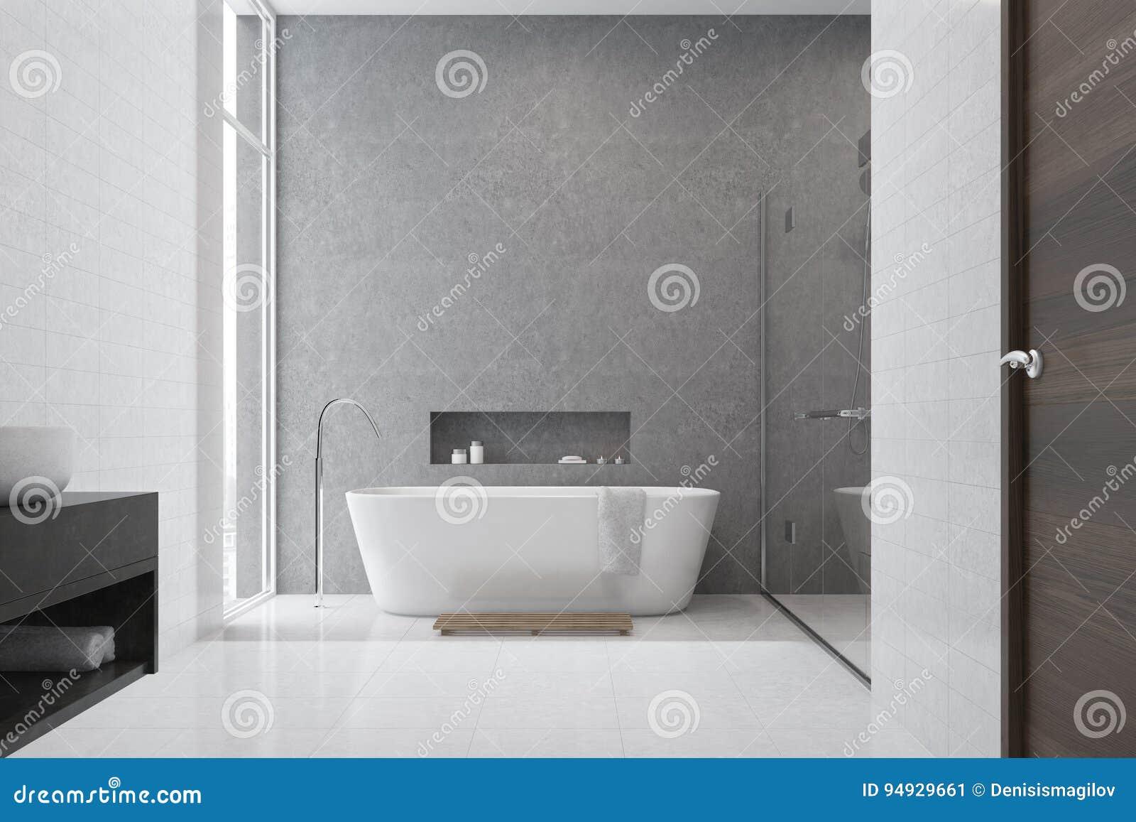 Bagno grigio mattonelle bianche lavandino bianco illustrazione