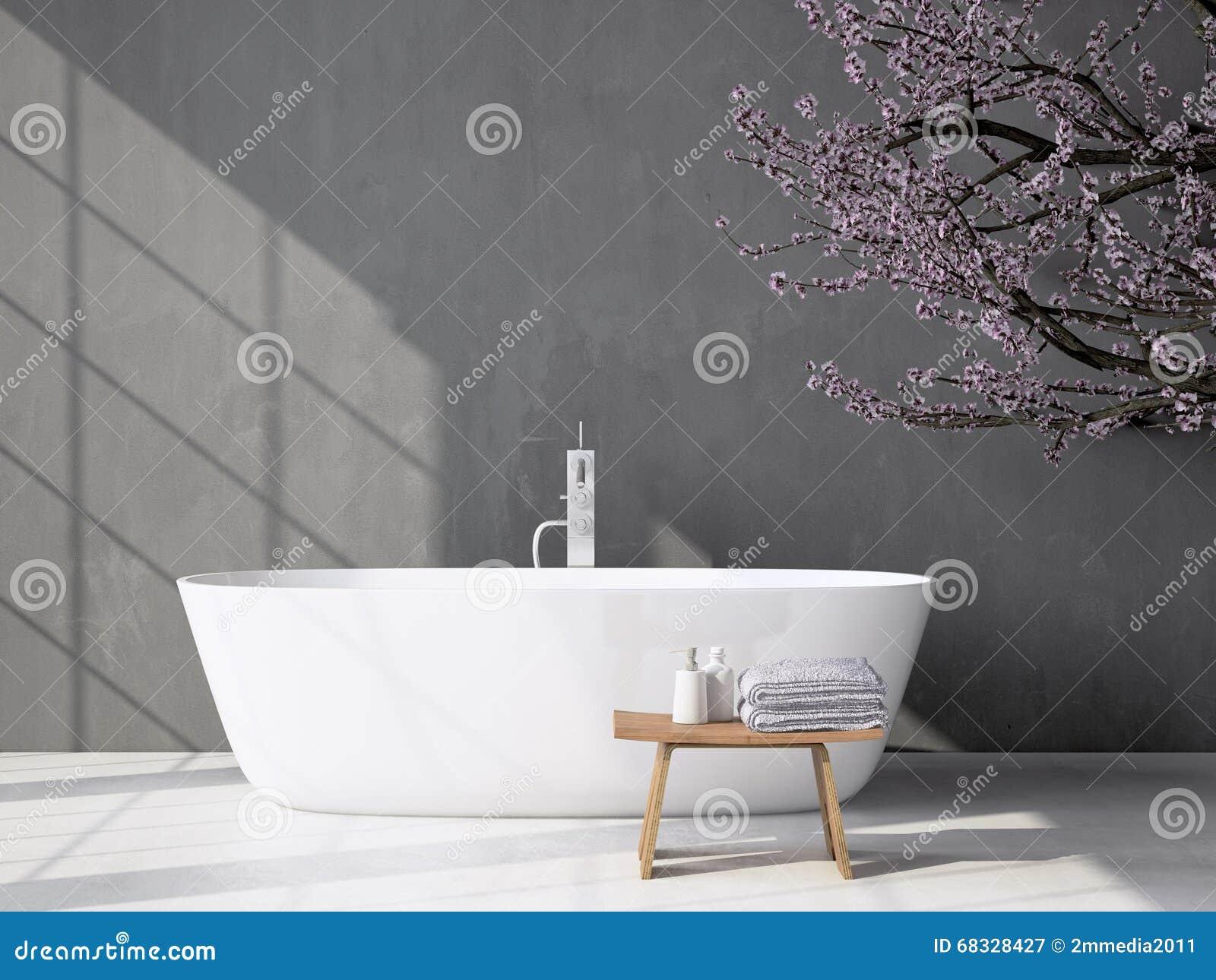 Bagno grigio moderno con la vasca rappresentazione 3d
