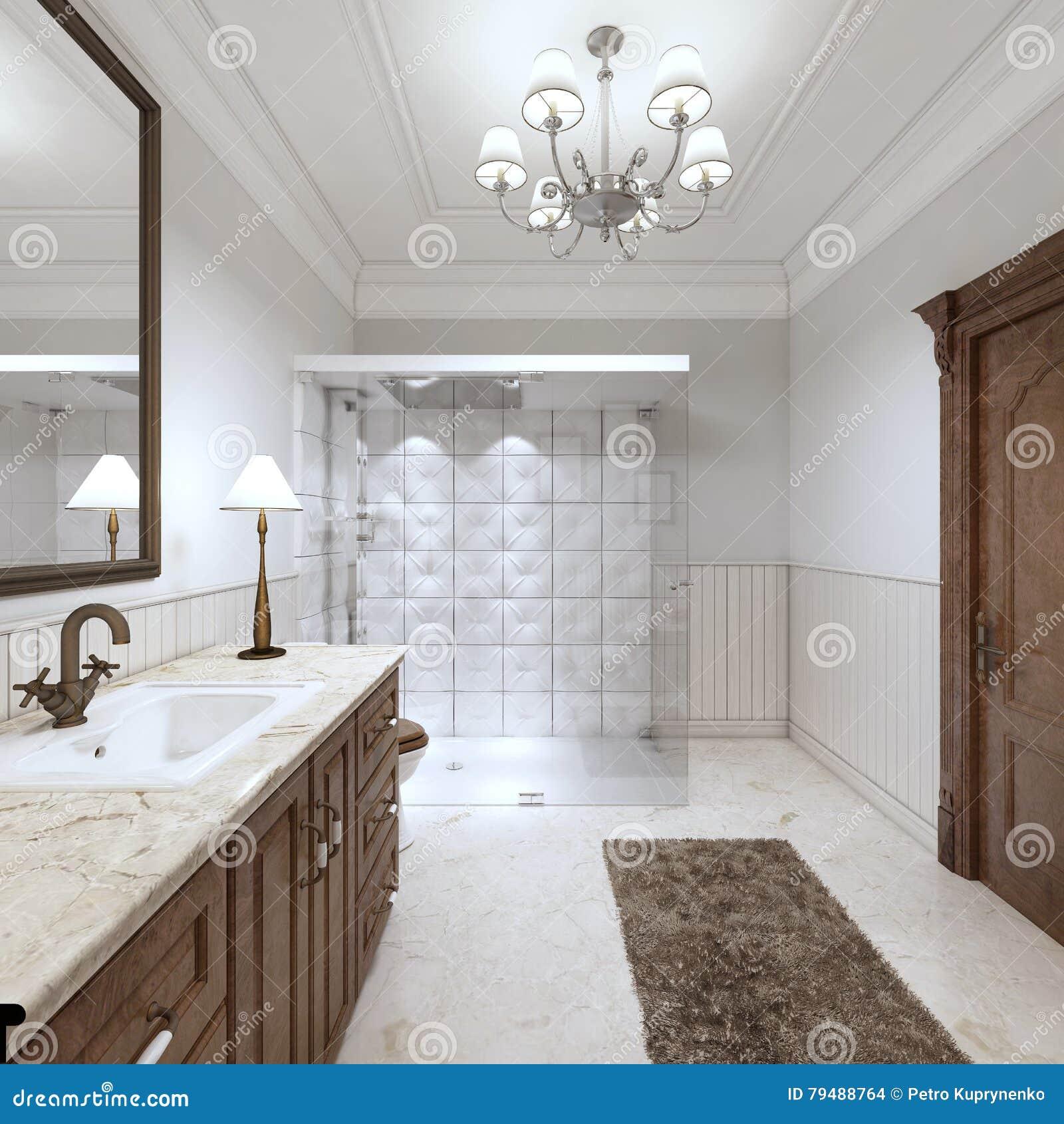 Lavandino Bagno In Inglese.Bagno Luminoso Nello Stile Inglese Con La Grande Doccia Di Vetro