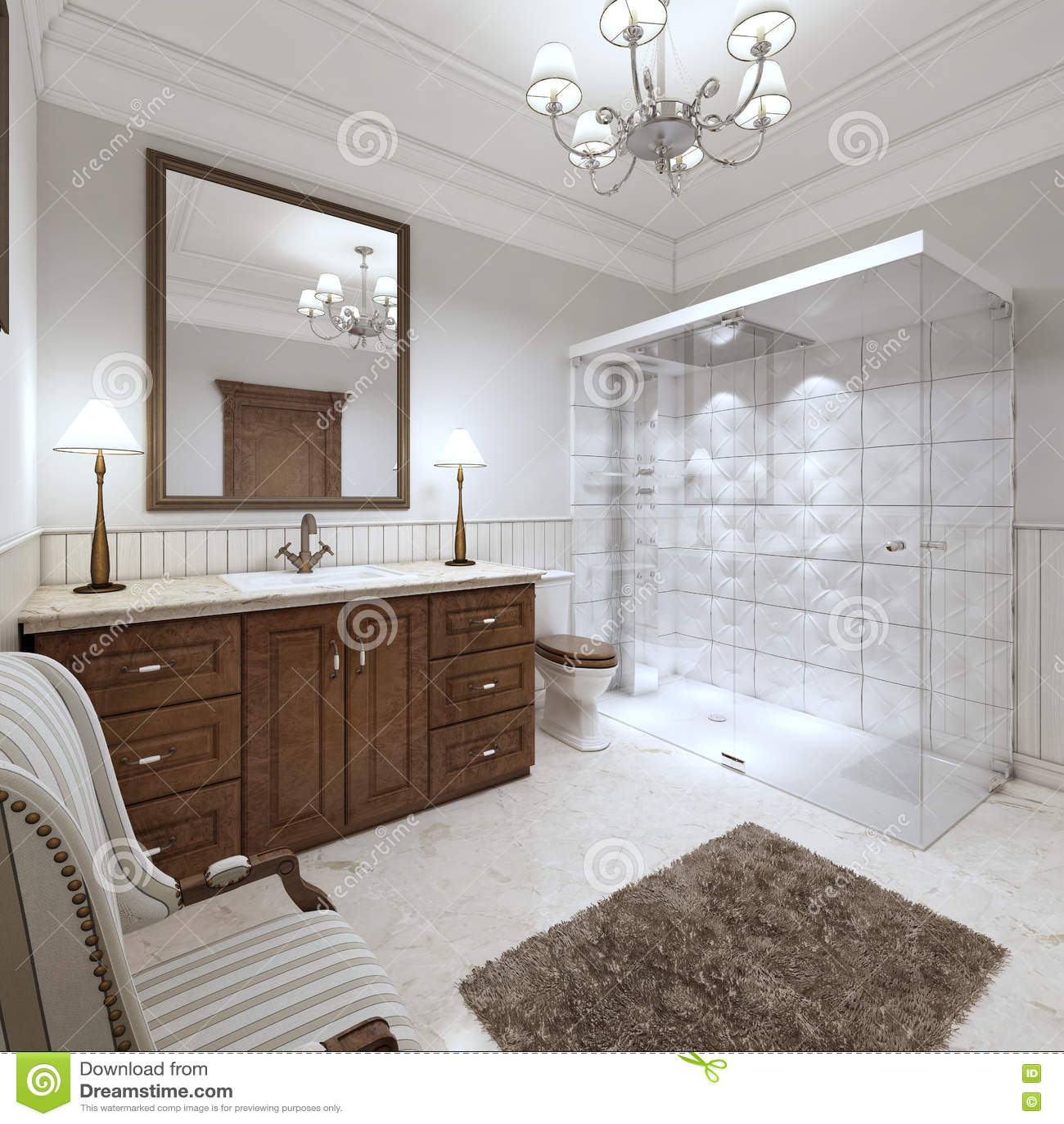 Bagno luminoso nello stile inglese con la grande doccia di vetro illustrazione di stock - Bagno stile inglese ...