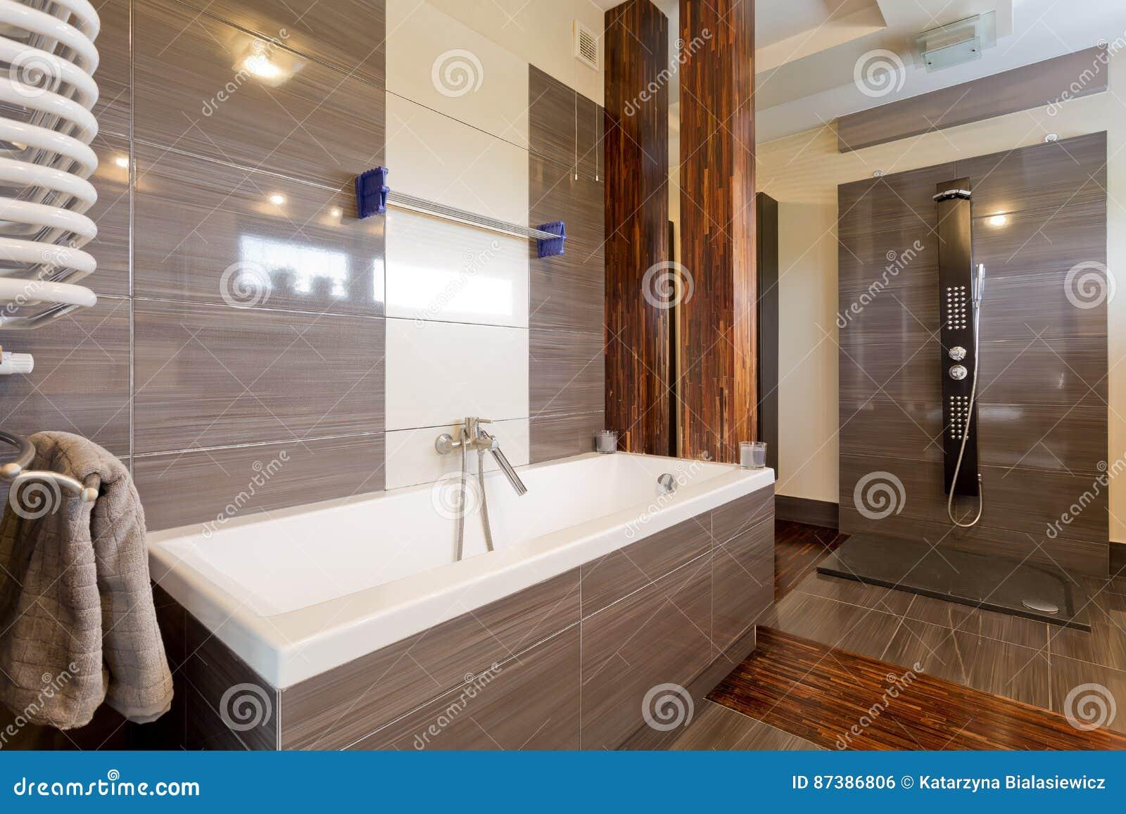 Bagno Marrone Moderno : Bagno marrone moderno con la vasca fotografia stock immagine di