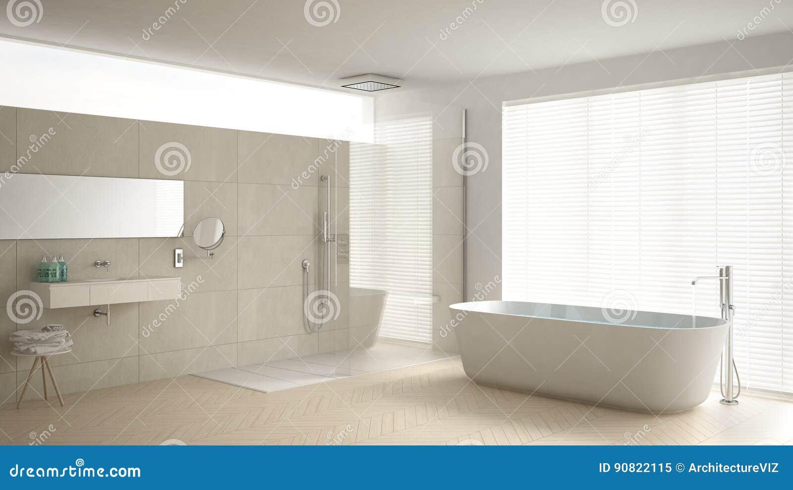 Bagno minimalista con la vasca e doccia pavimento di parquet e m illustrazione di stock - Bagno con doccia a pavimento ...