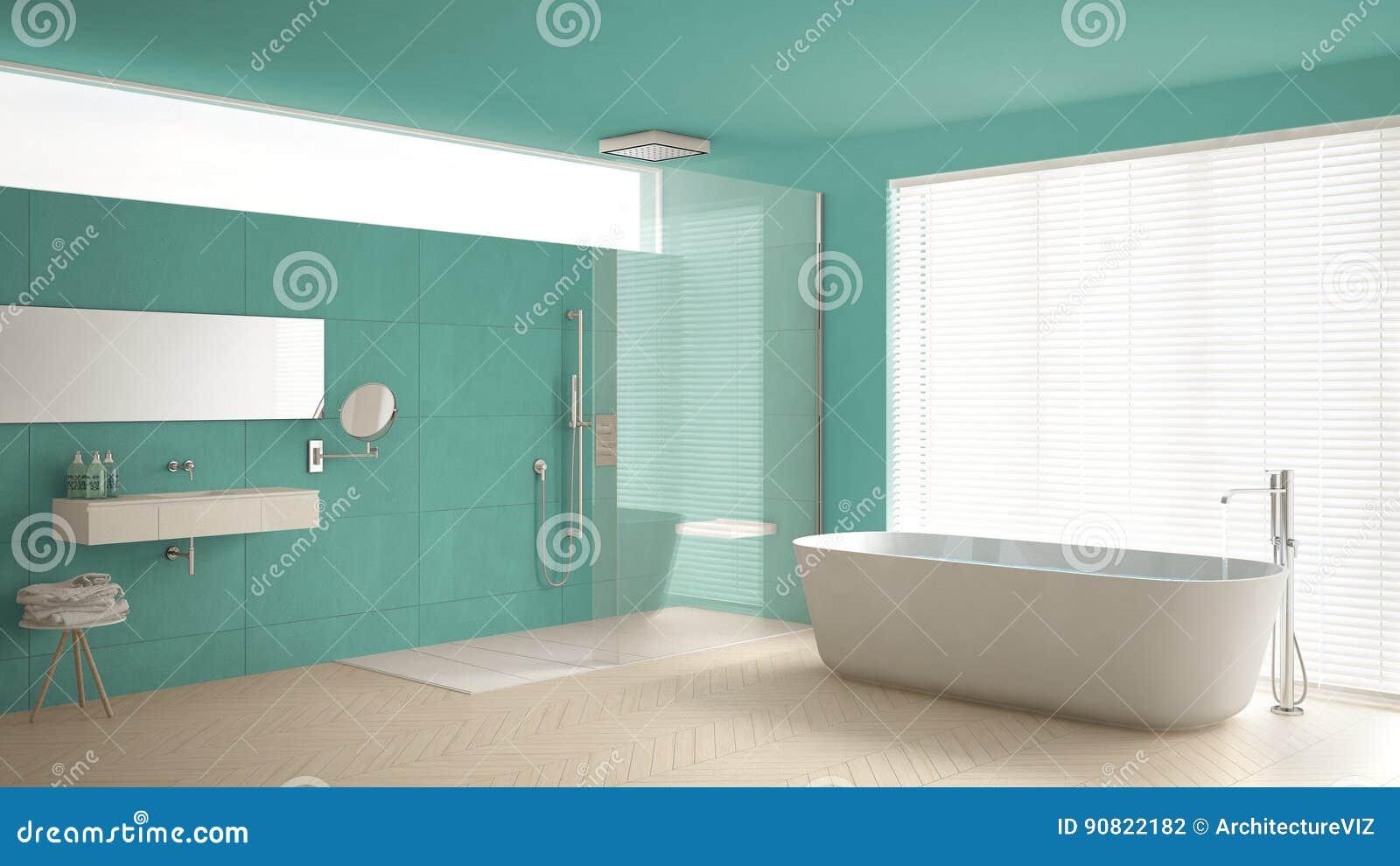 Bagno minimalista con la vasca e doccia pavimento di parquet e m