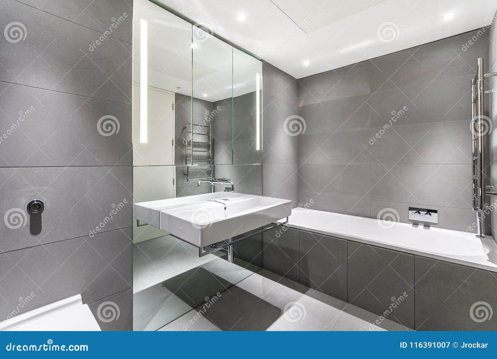 Bagno Minimalista Moderno In Grigio Ed In Bianco Immagine Stock