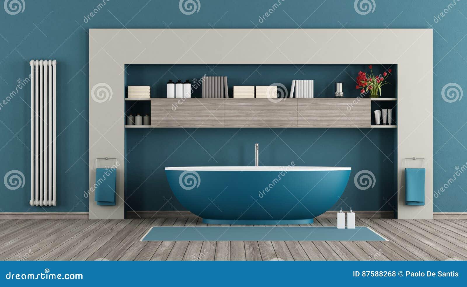 Bagno in stile moderno con luci blu interior design real project