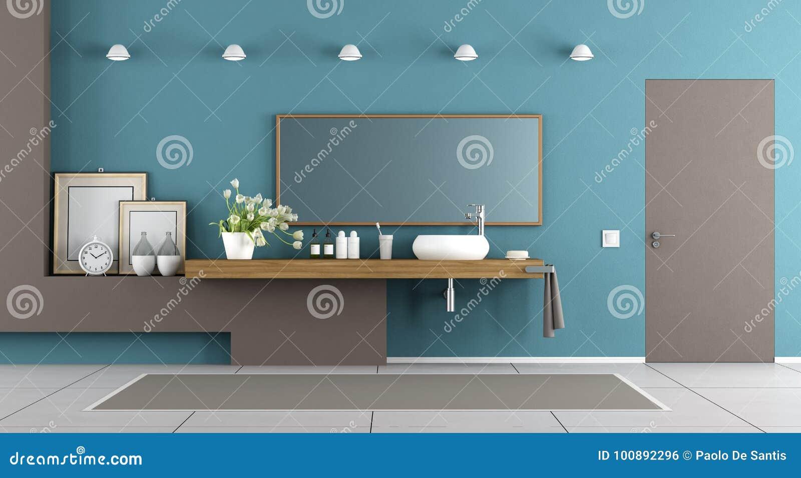 Bagno moderno blu e marrone illustrazione di stock illustrazione