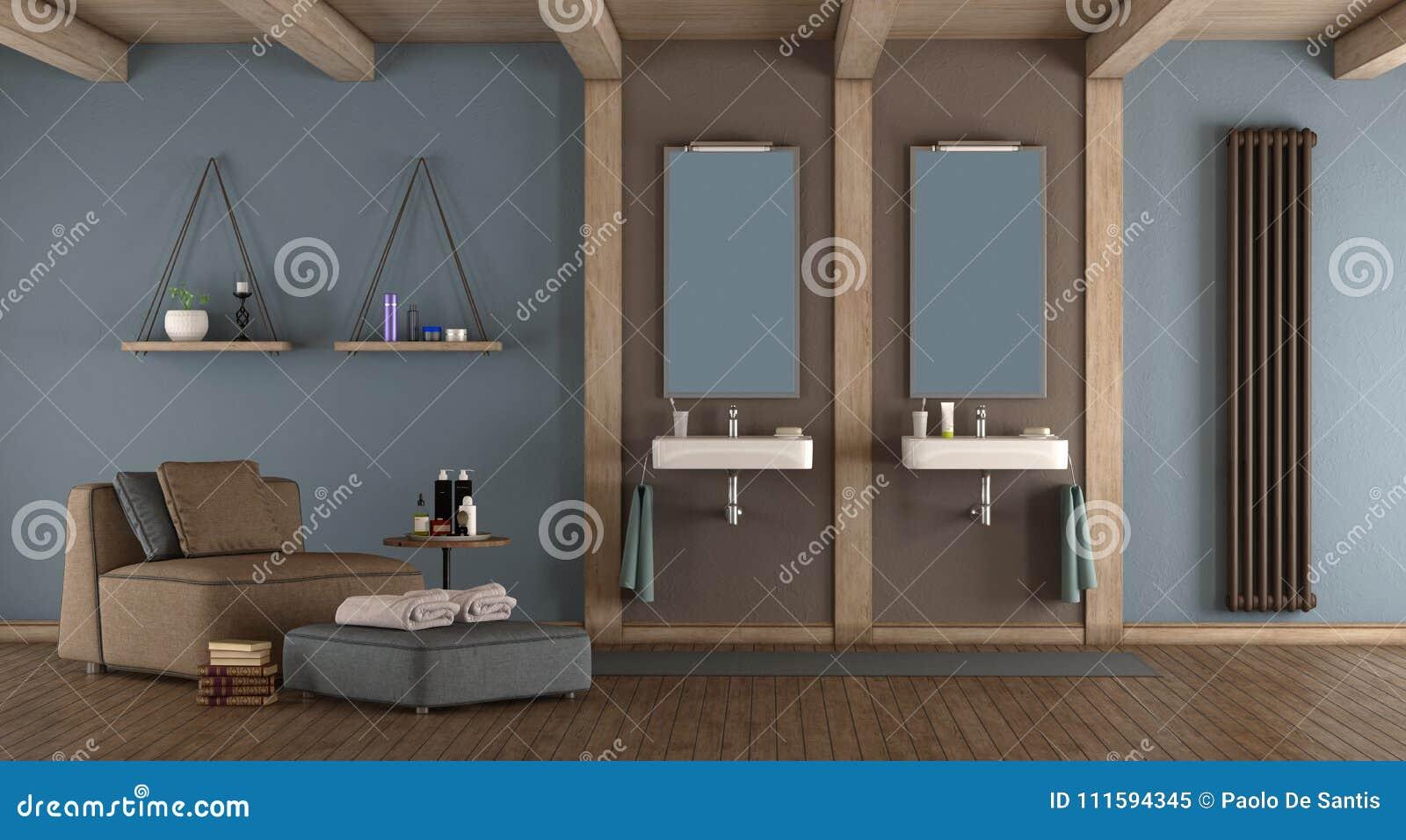 Bagno Marrone Moderno : Bagno moderno blu e marrone illustrazione di stock illustrazione