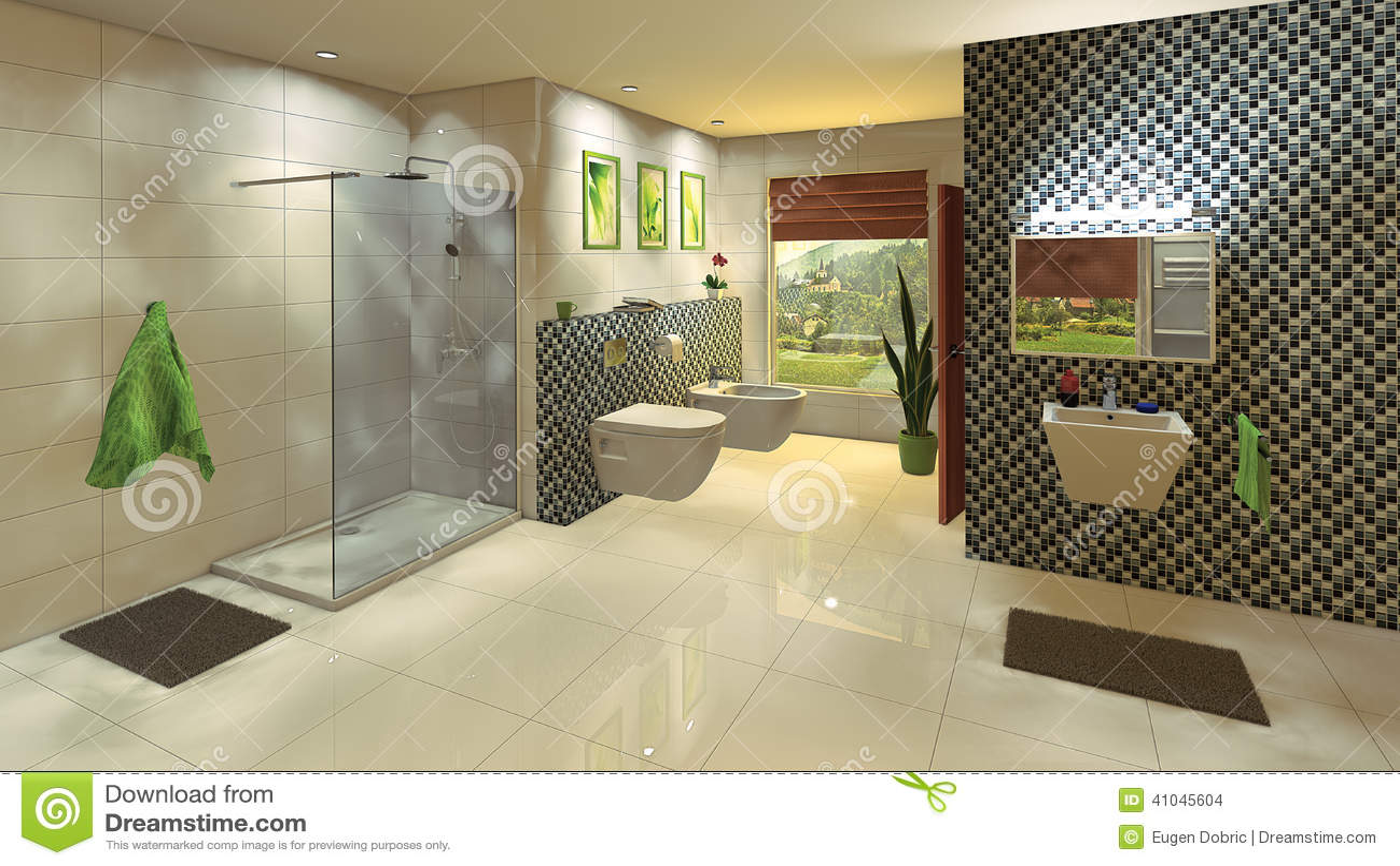 bagno moderno con la parete del mosaico illustrazione di stock ... - Bagni Moderni Con Mosaico