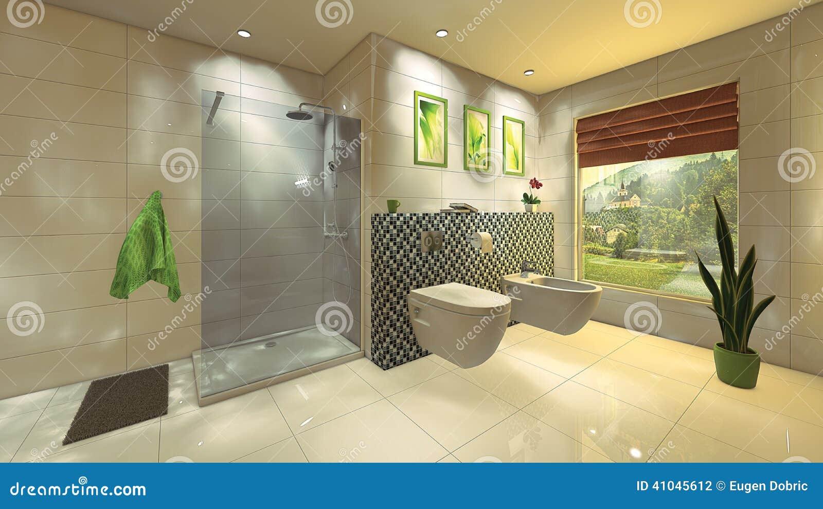 bagno moderno con la parete del mosaico illustrazione di stock ... - Arredo Bagno Con Mosaico