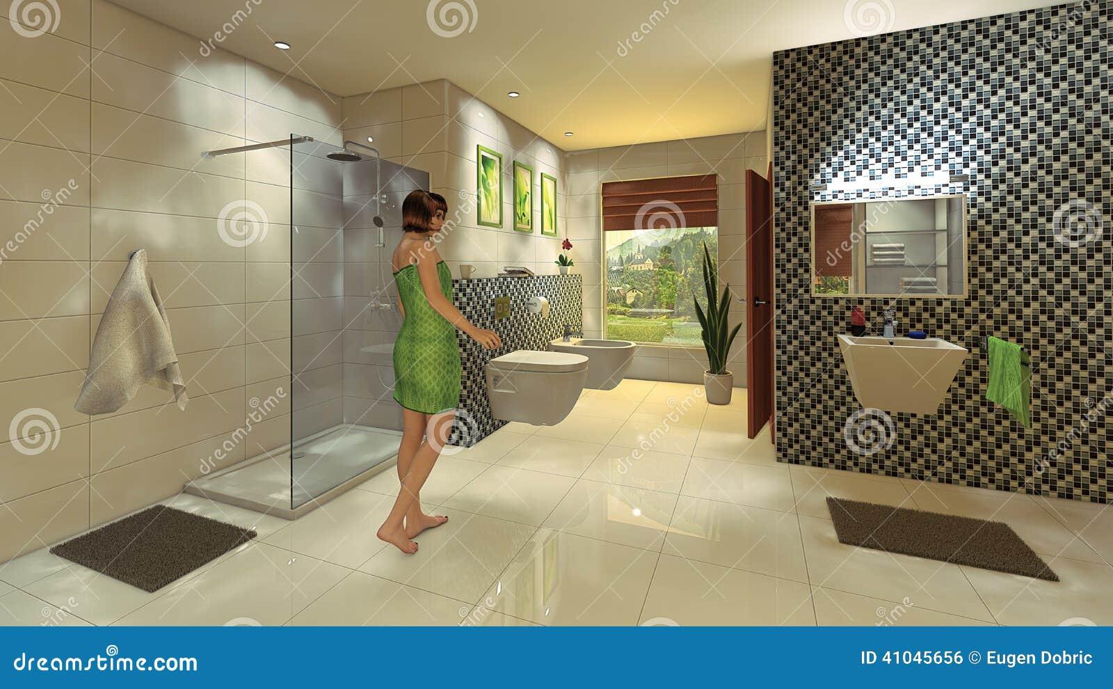 Parete Mosaico Bagno : Bagno moderno con la parete del mosaico illustrazione di stock