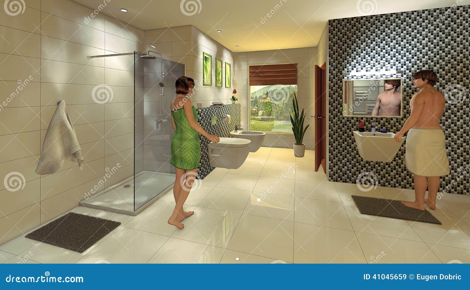 Bagno Moderno Con La Parete Del Mosaico Illustrazione di Stock ...