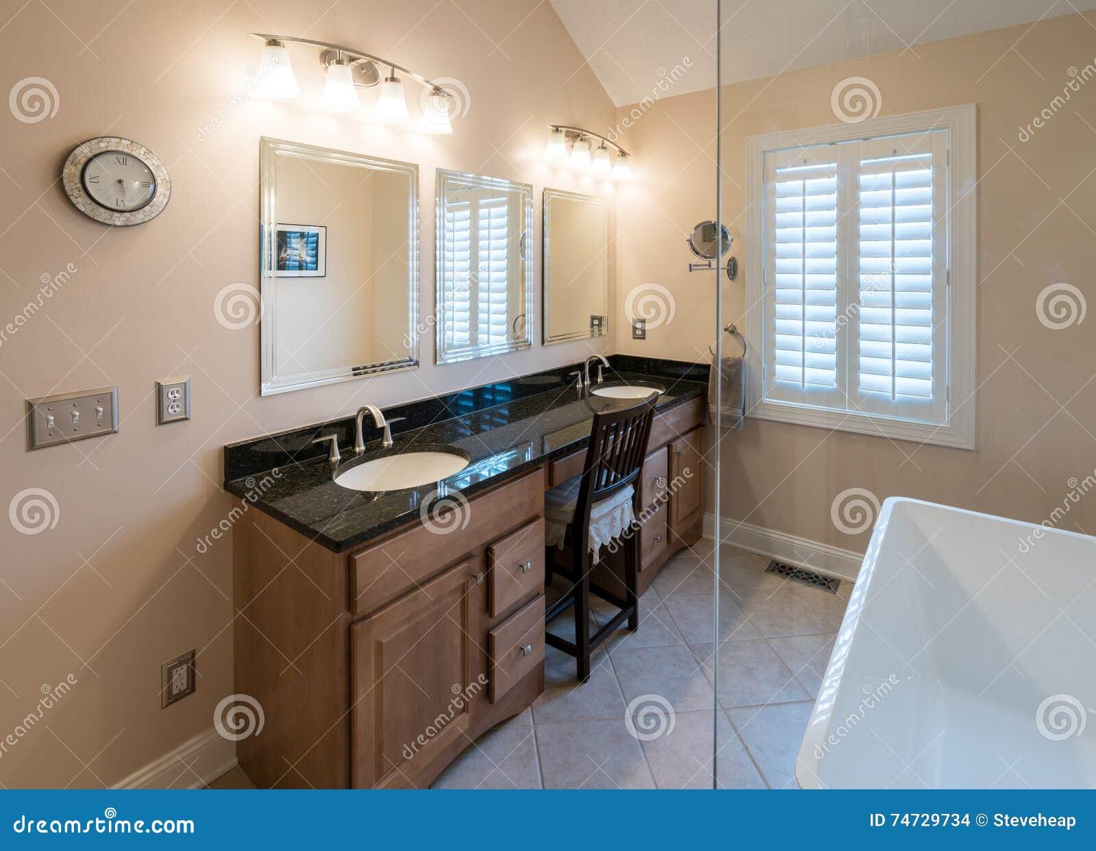 bagno moderno con la vasca indipendente e la vanità fotografia ... - Bagni Moderni Con Vasca