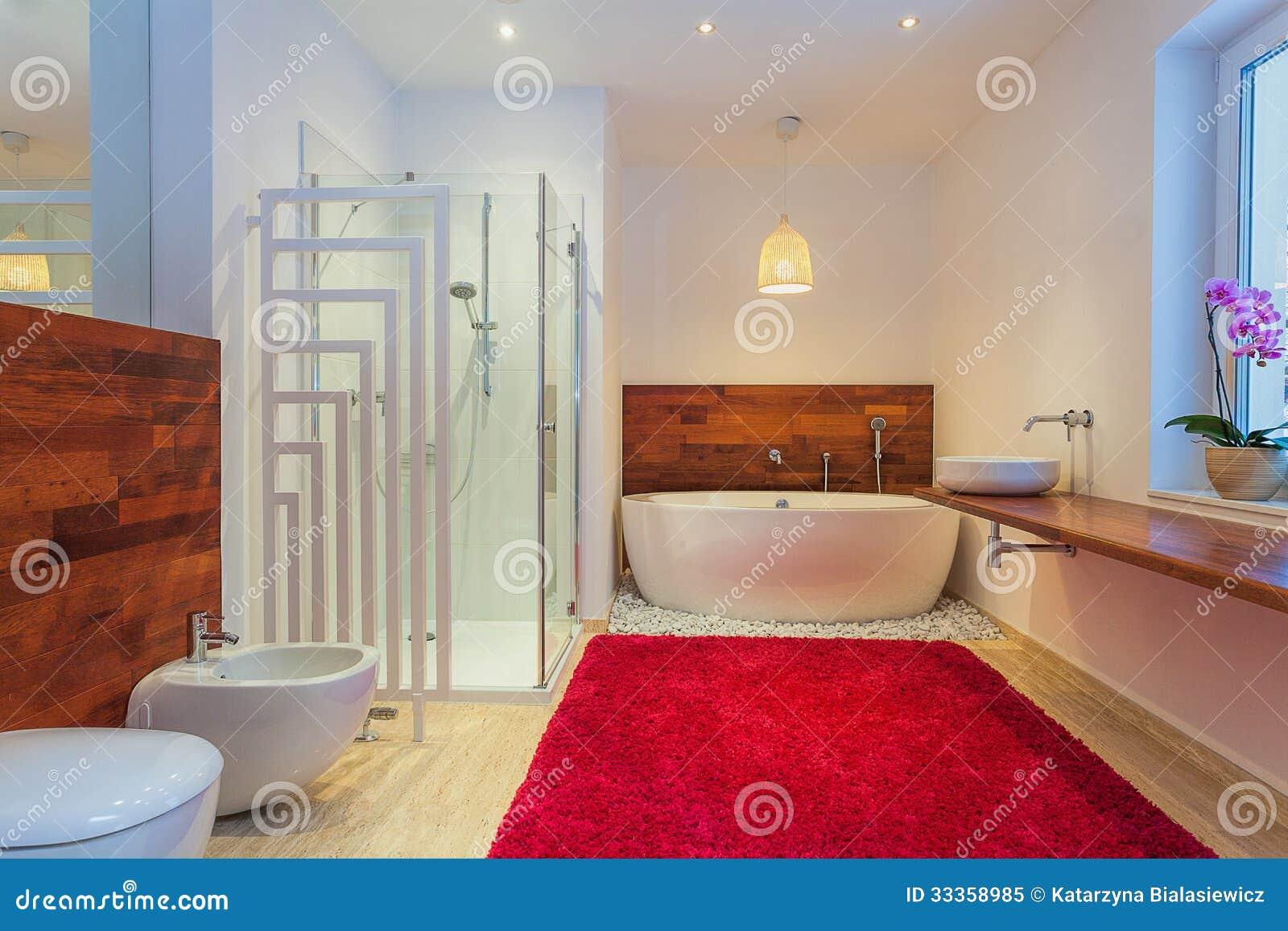Bagno moderno con tappeto immagine stock. immagine di esotico 33358985