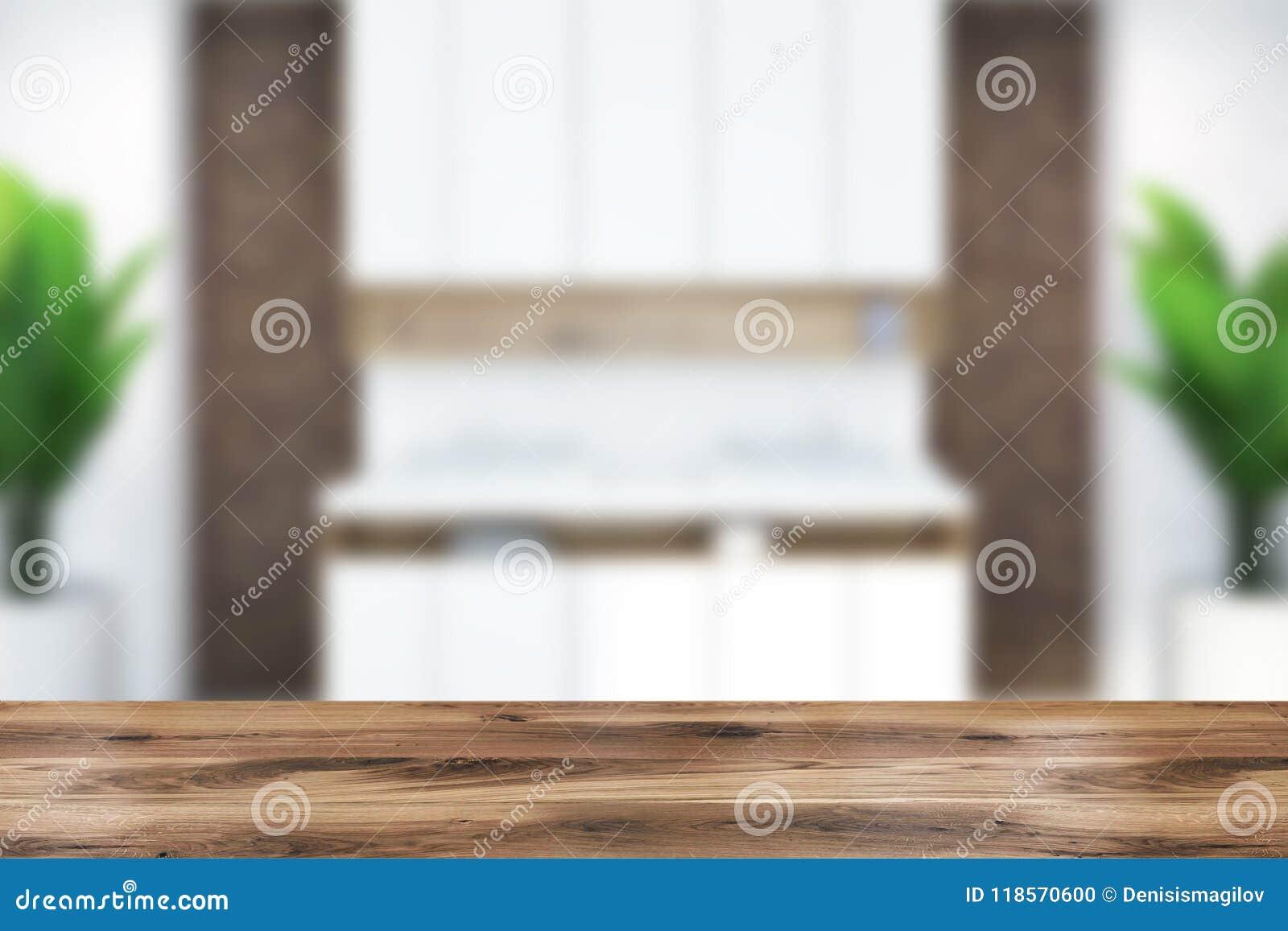 Bagno moderno interno sfuocatura del mattone del doppio lavandino