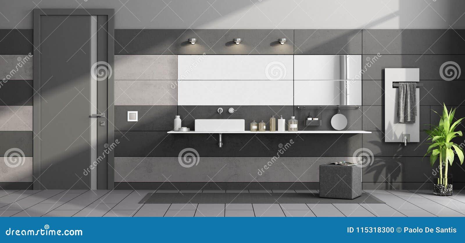 Bagno Moderno Nero E Grigio Illustrazione di Stock - Illustrazione ...