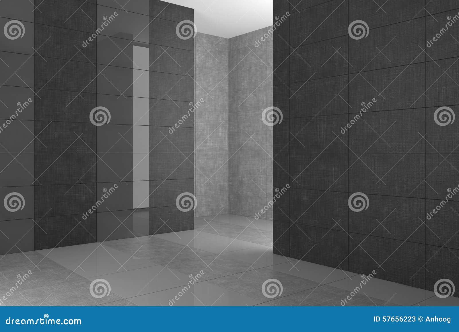 Bagno moderno vuoto con le mattonelle grige illustrazione di stock