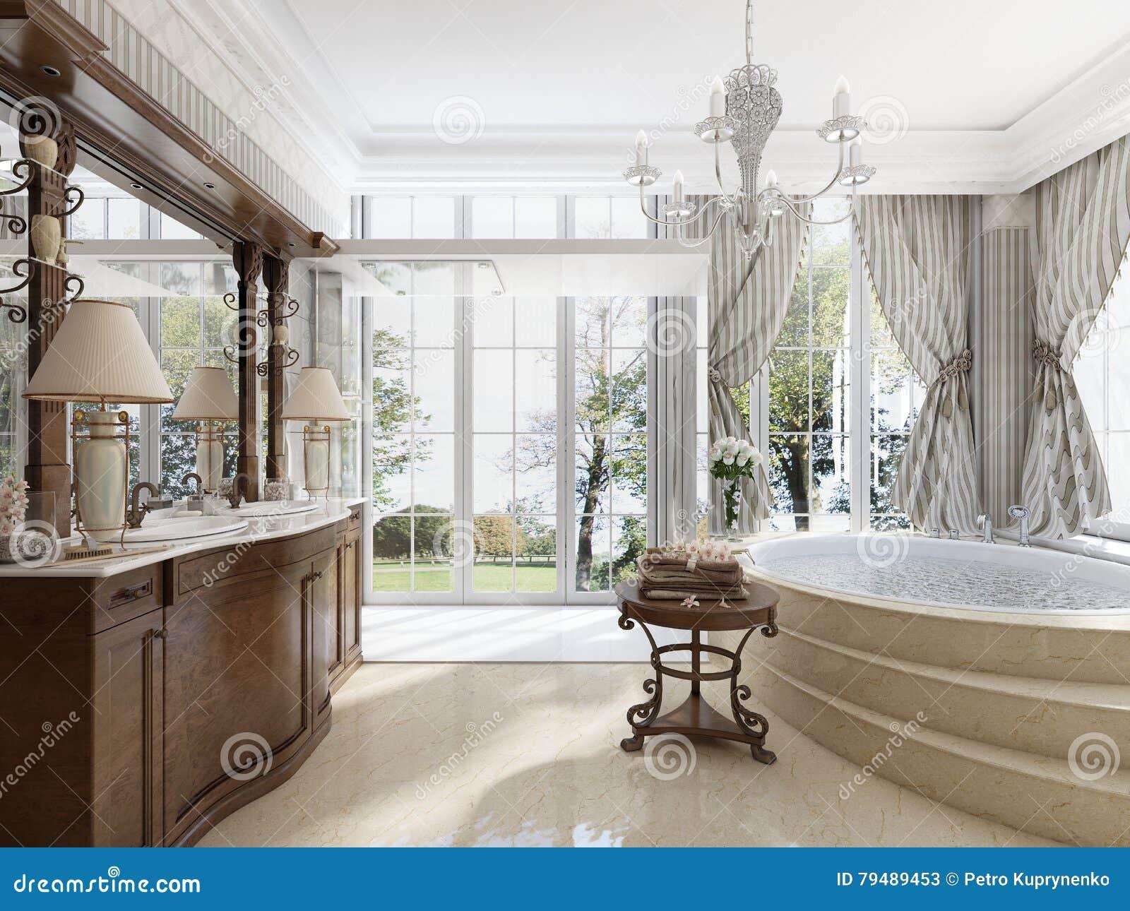 Bagno nello stile neoclassico di lusso con le vasche dei lavandini e un lar illustrazione di - Vasche da bagno di lusso ...