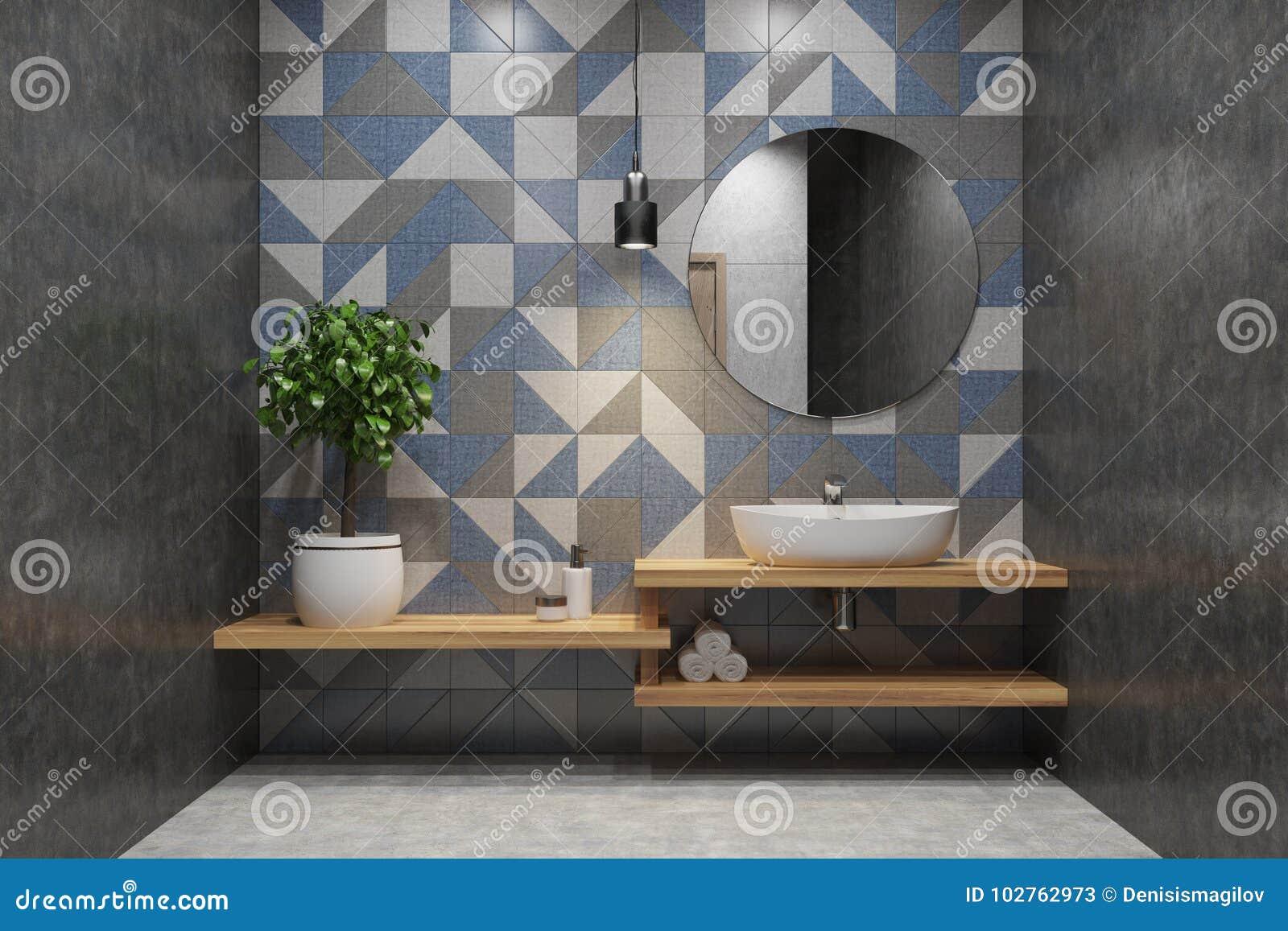 Bagno piastrellato lavandino specchio rotondo illustrazione di stock illustrazione di lusso - Specchio bagno rotondo ...