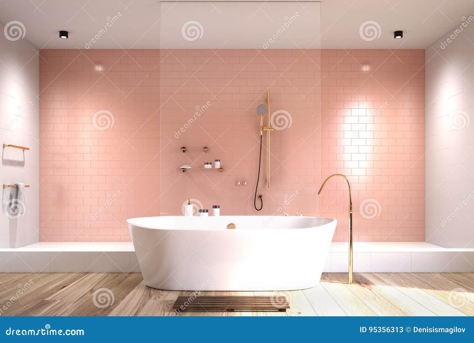 Bagno rosa con le mattonelle bianche illustrazione di stock