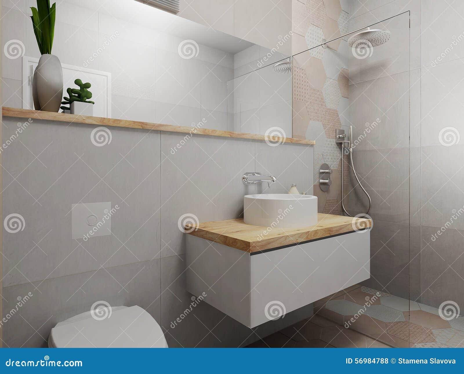 Bagno rosa e grigio moderno illustrazione di stock - Bagno moderno grigio ...