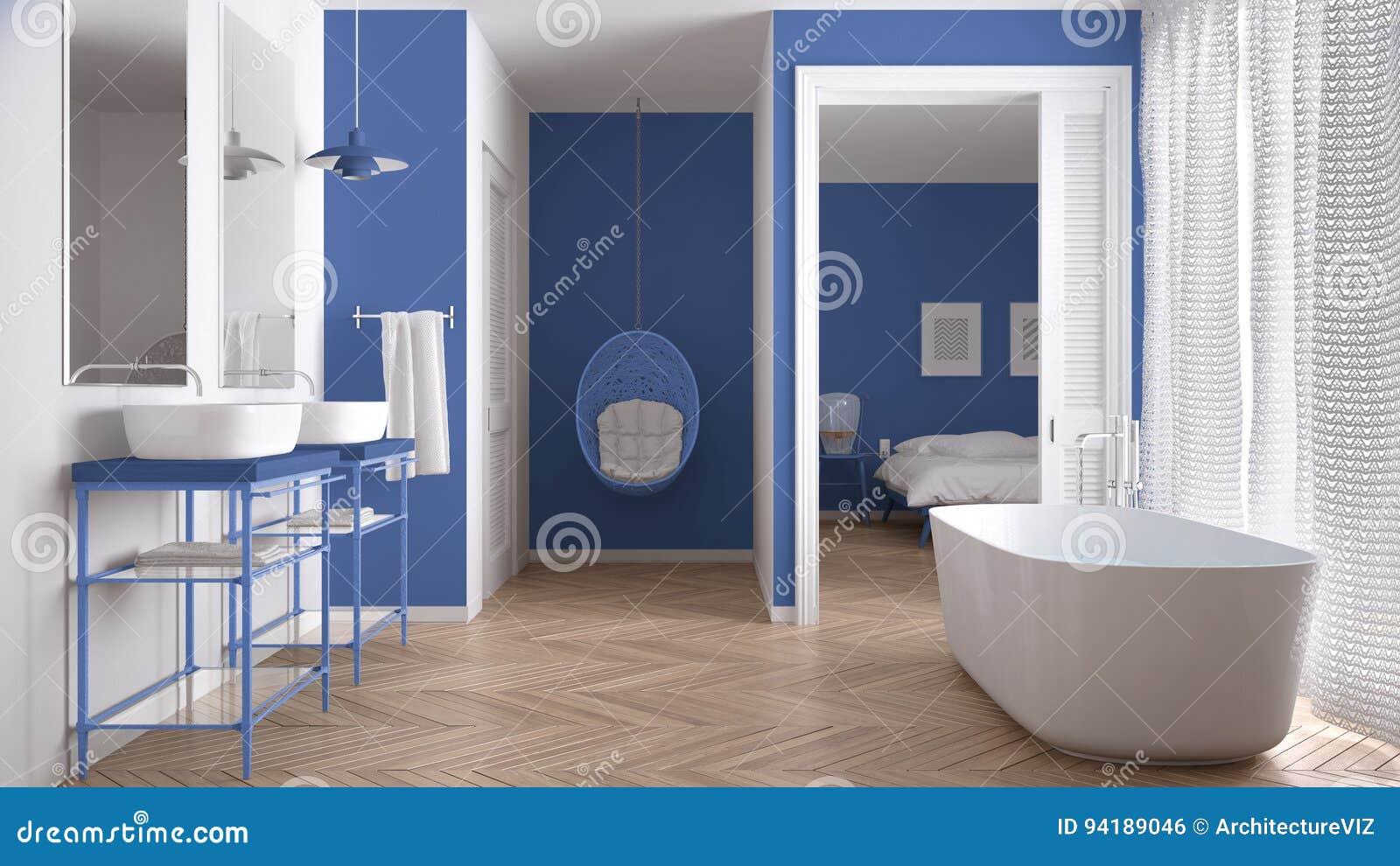 Bagno Scandinavo Bianco E Blu Minimalista Con La Camera Da Letto