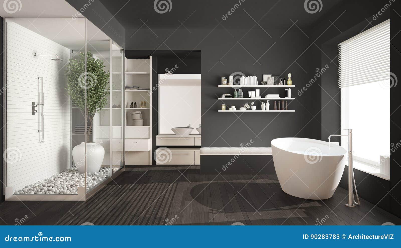Bagno scandinavo grigio minimalista con il gabinetto delle persone