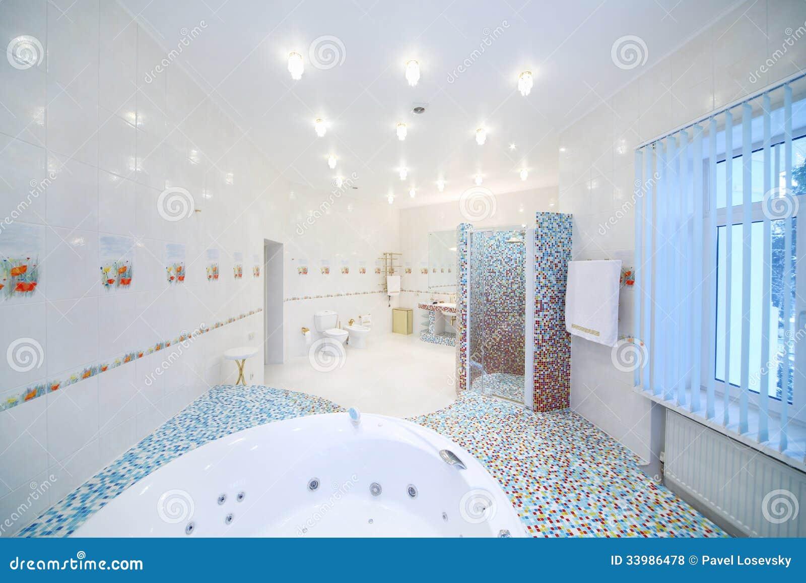 Bagno spazioso con la toilette la cabina della doccia e for Piani di cabina e cottage