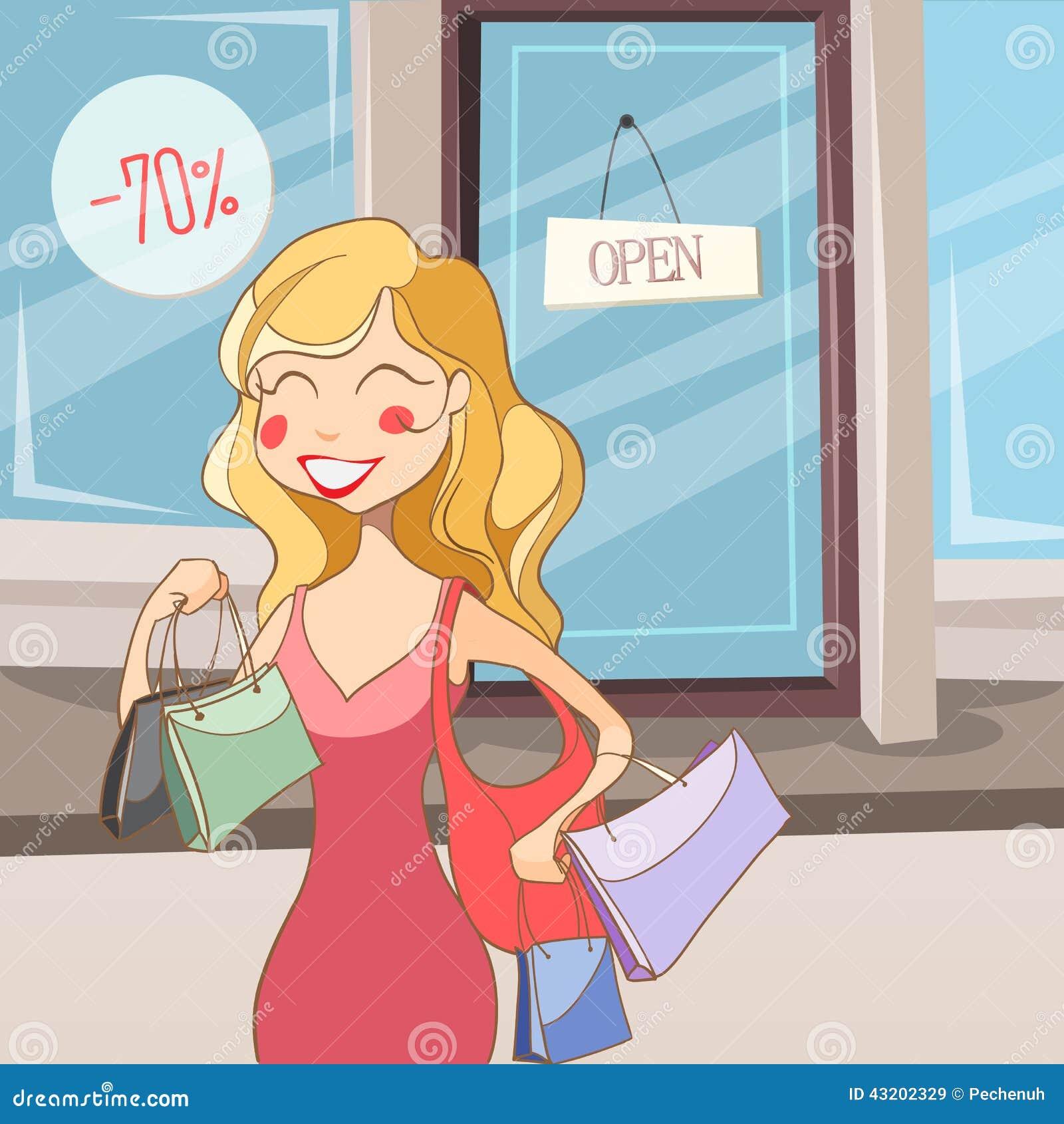 Download Bags flickashopping stock illustrationer. Illustration av etnicitet - 43202329