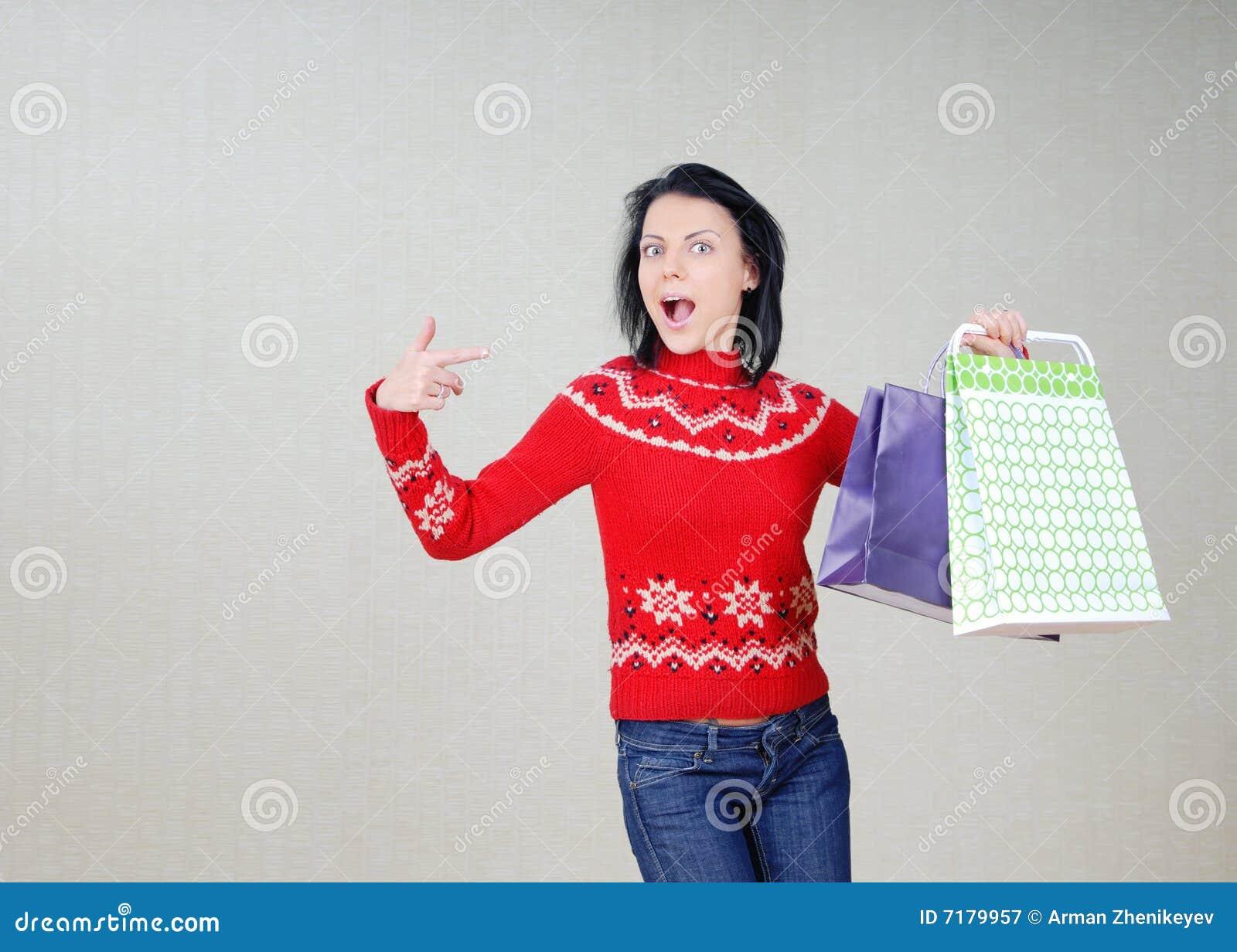 Bags gåvor som visar kvinnan
