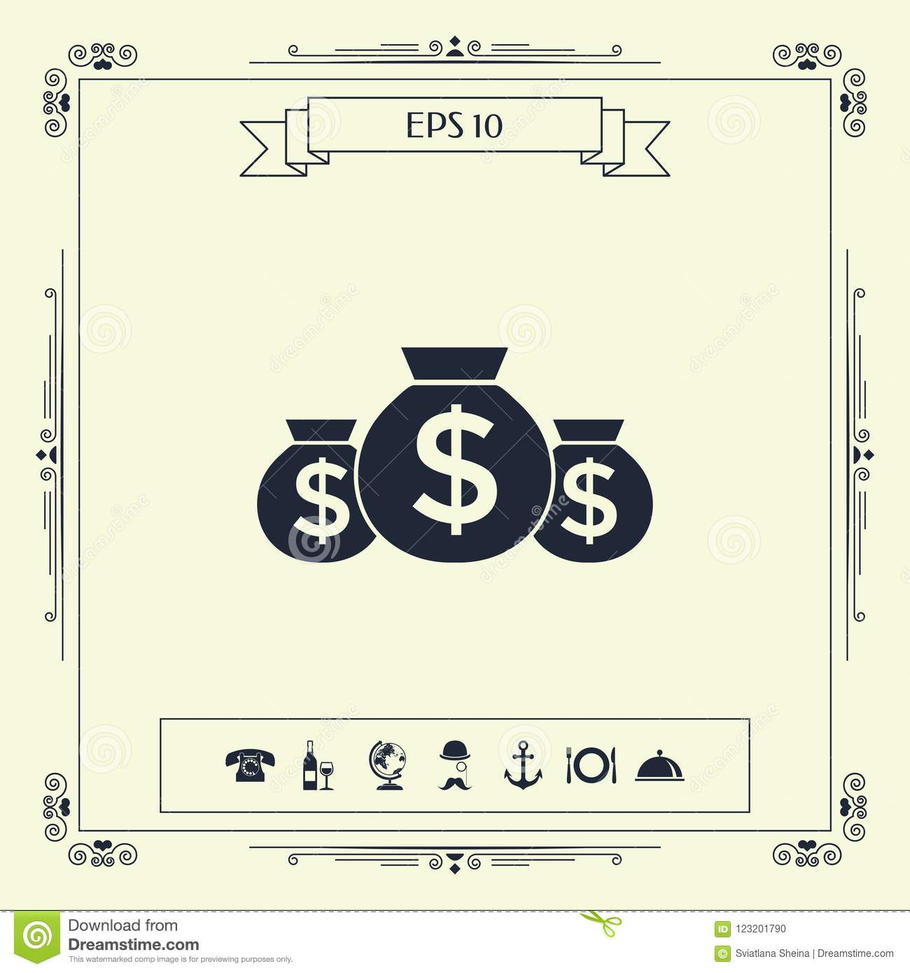 Bags Of Money Icon With Dollar Symbol Stock Vector Illustration Of