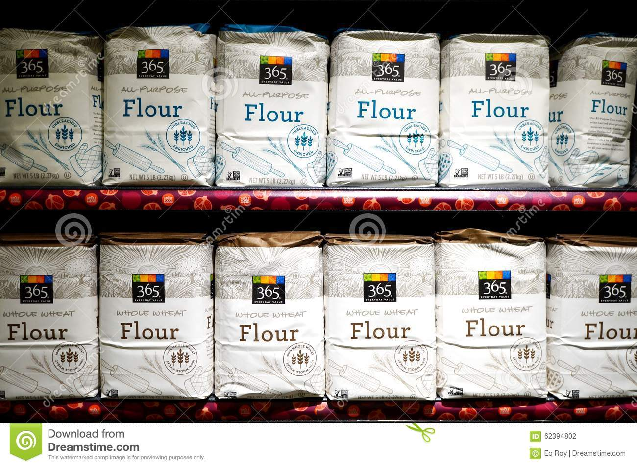 Bags Of White Flour From Whole Foods Market Stock Photo 62394802