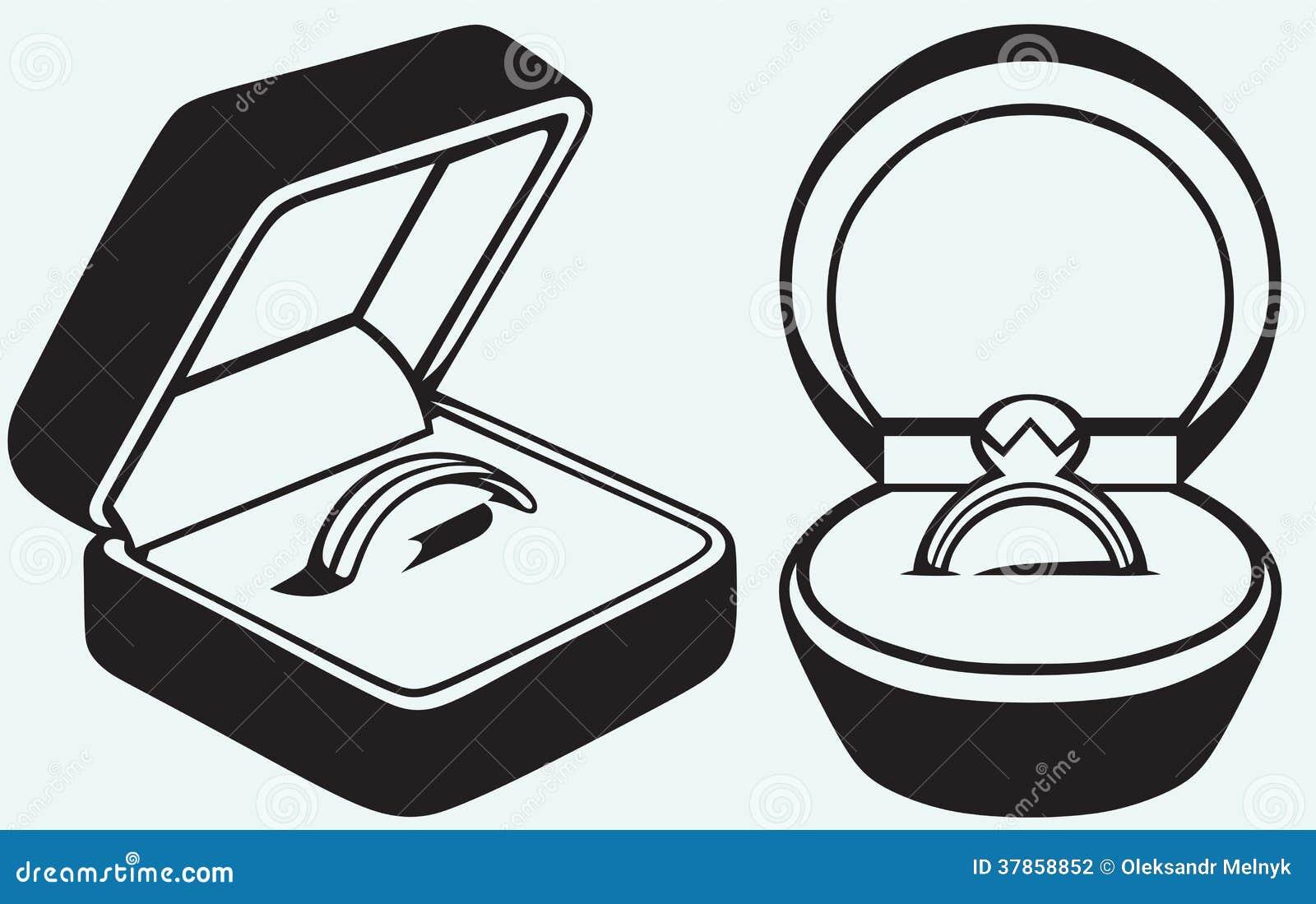 Bague de fiançailles dans la boîte d'isolement sur le fond bleu.