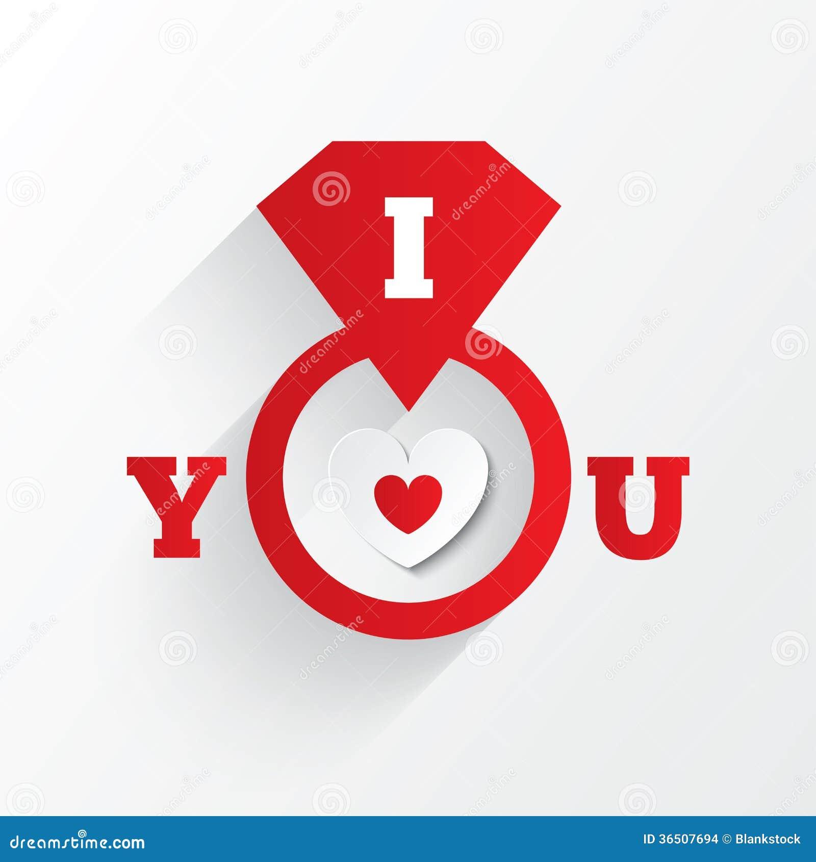 Bague de fiançailles. Je t aime signe. Coeur de papier rouge