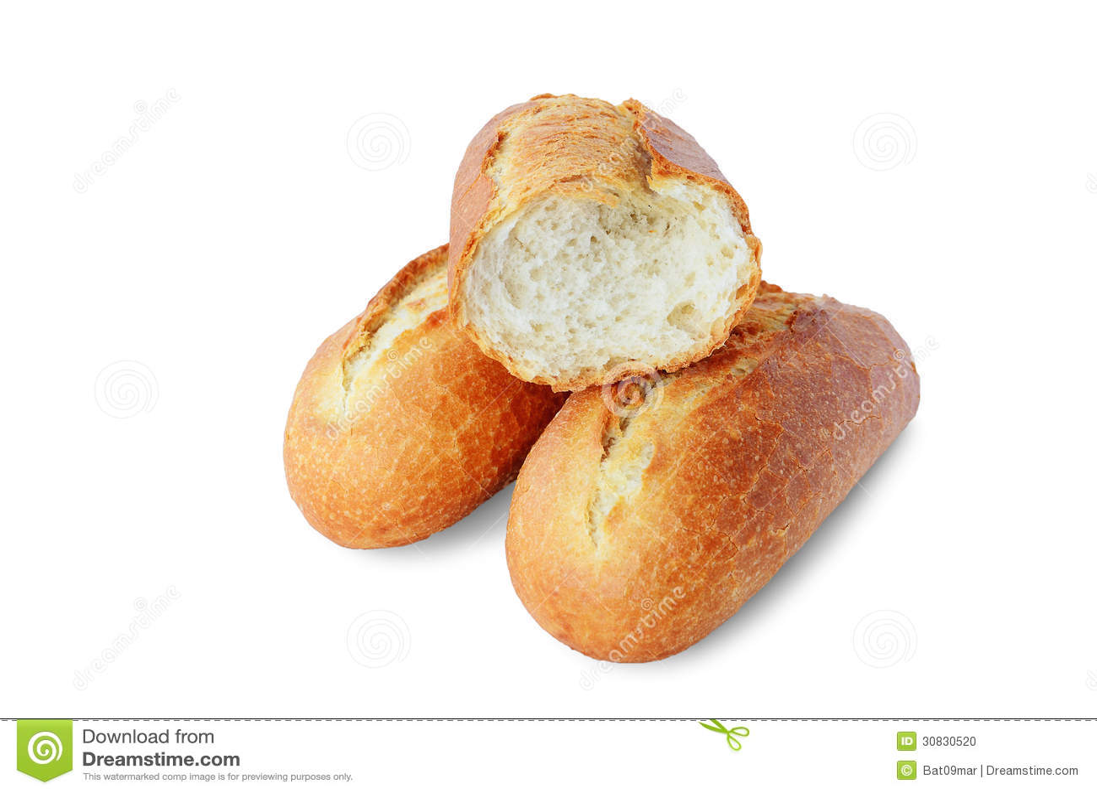 Baguette fresche su fondo bianco
