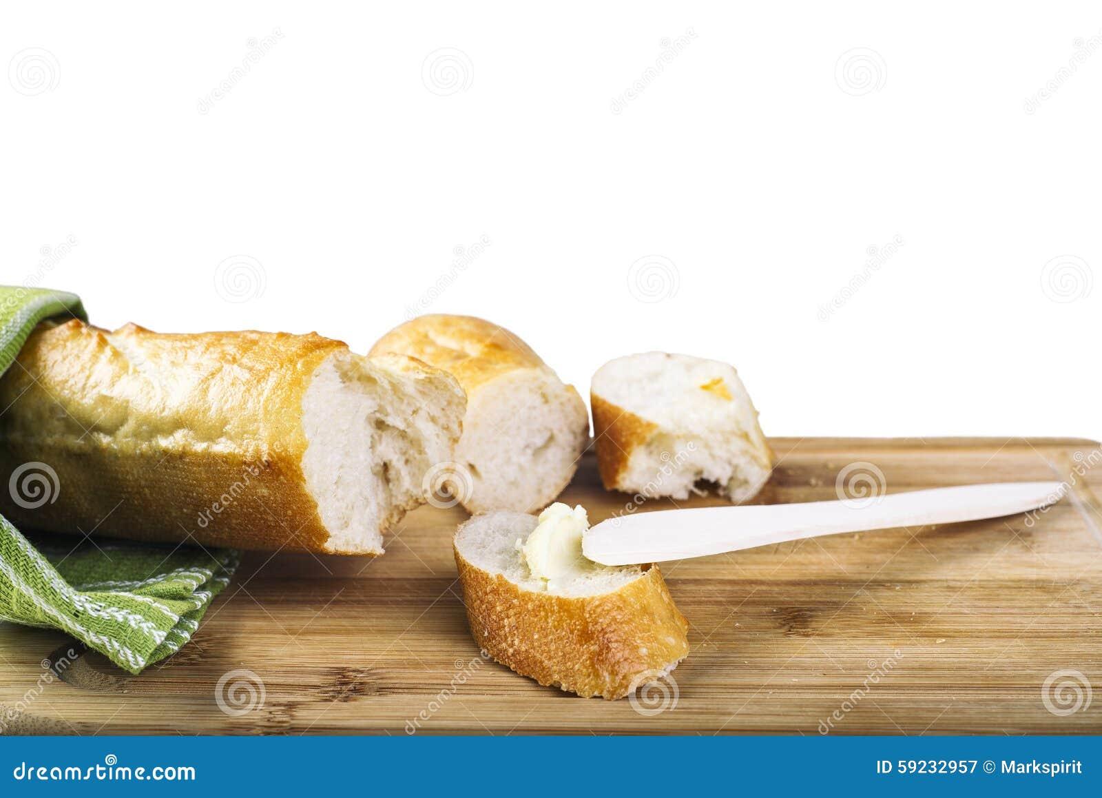 Download Baguette Largo Y Cuchillo De Mantequilla De Madera En Tabla De Cortar De Madera Imagen de archivo - Imagen de alimento, primer: 59232957