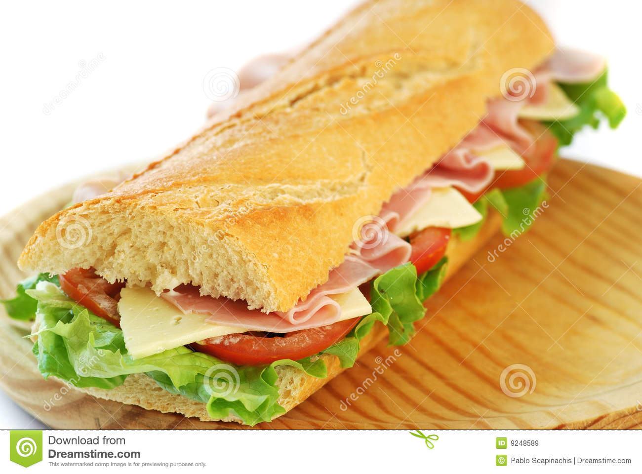 Baguette Sandwich With Ham And Cheese Stock Image Image