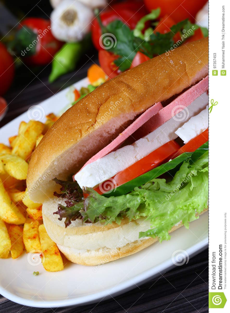 baguette sandwich with ham and cheese stock photo image 97357453. Black Bedroom Furniture Sets. Home Design Ideas