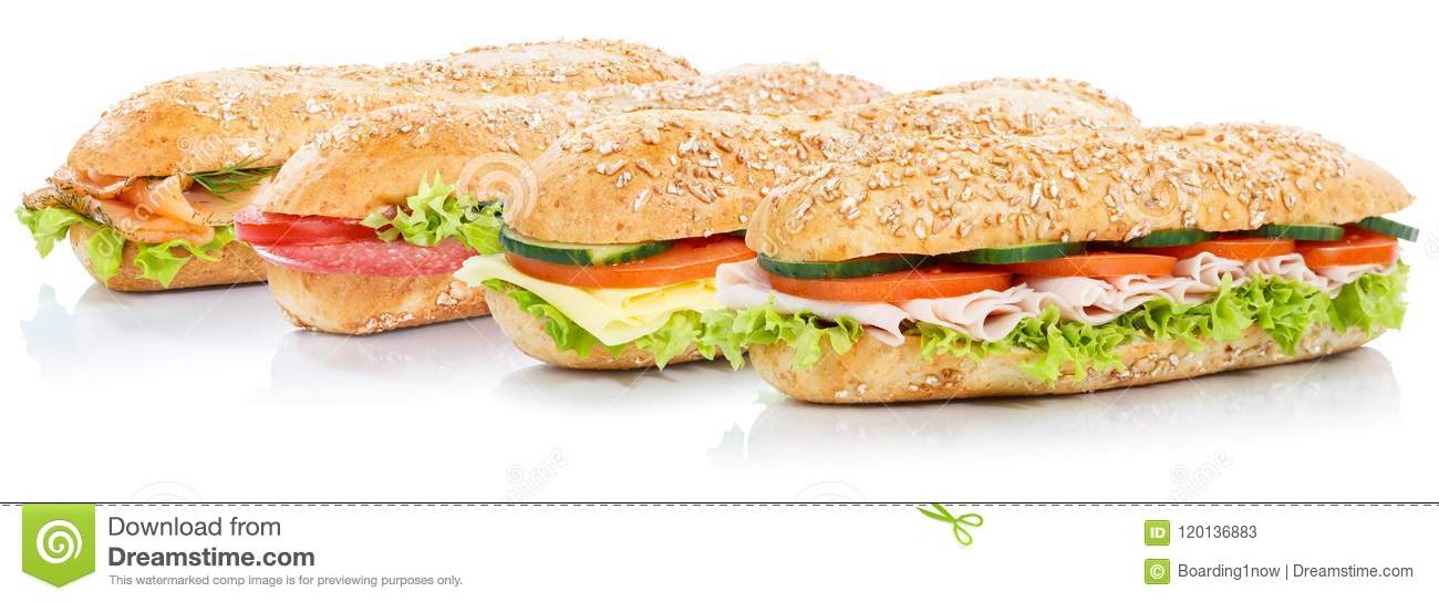 Baguette sub sandwiches with salami ham cheese salmon fish whole