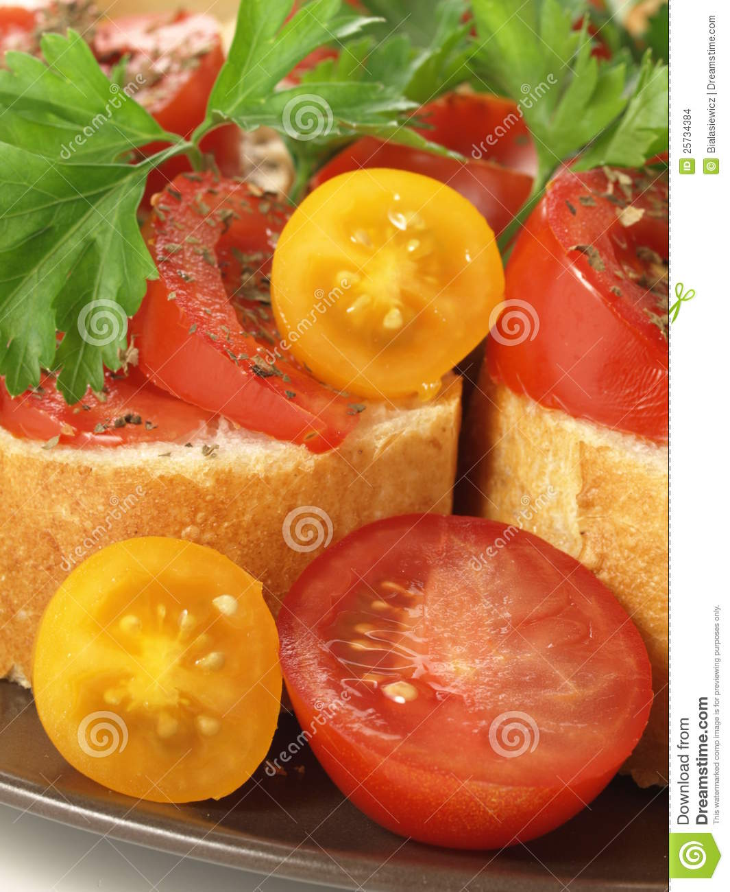 Baguette with tomatoes