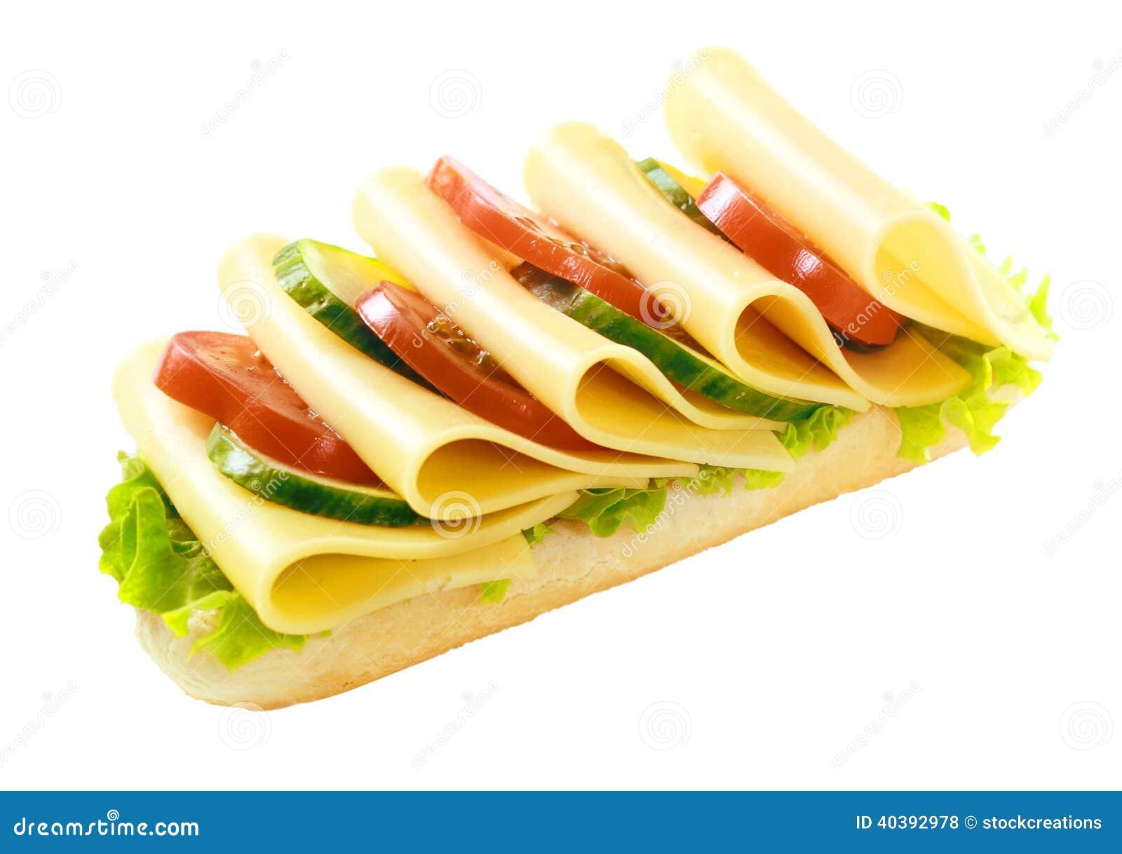 Baguette vegetariano sano del Gouda y de la ensalada