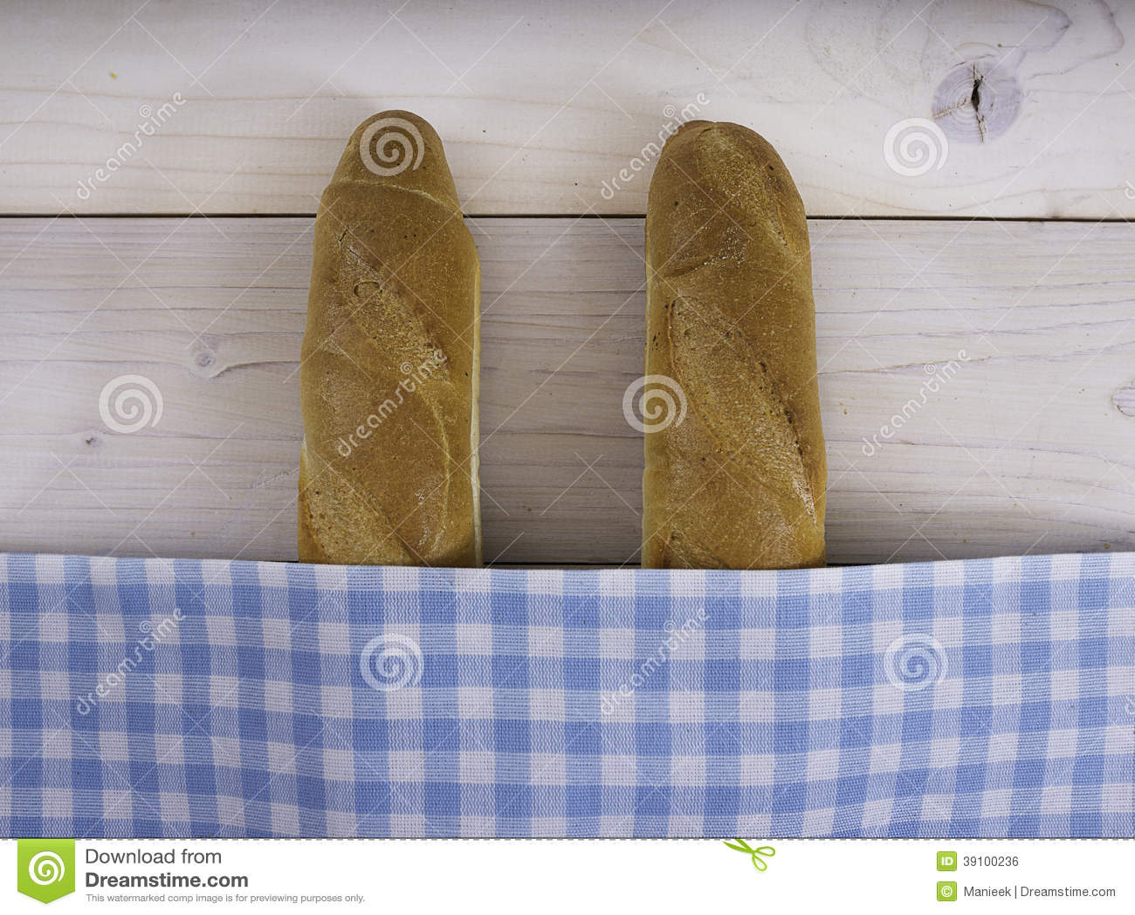 Baguettes onder een zakdoek
