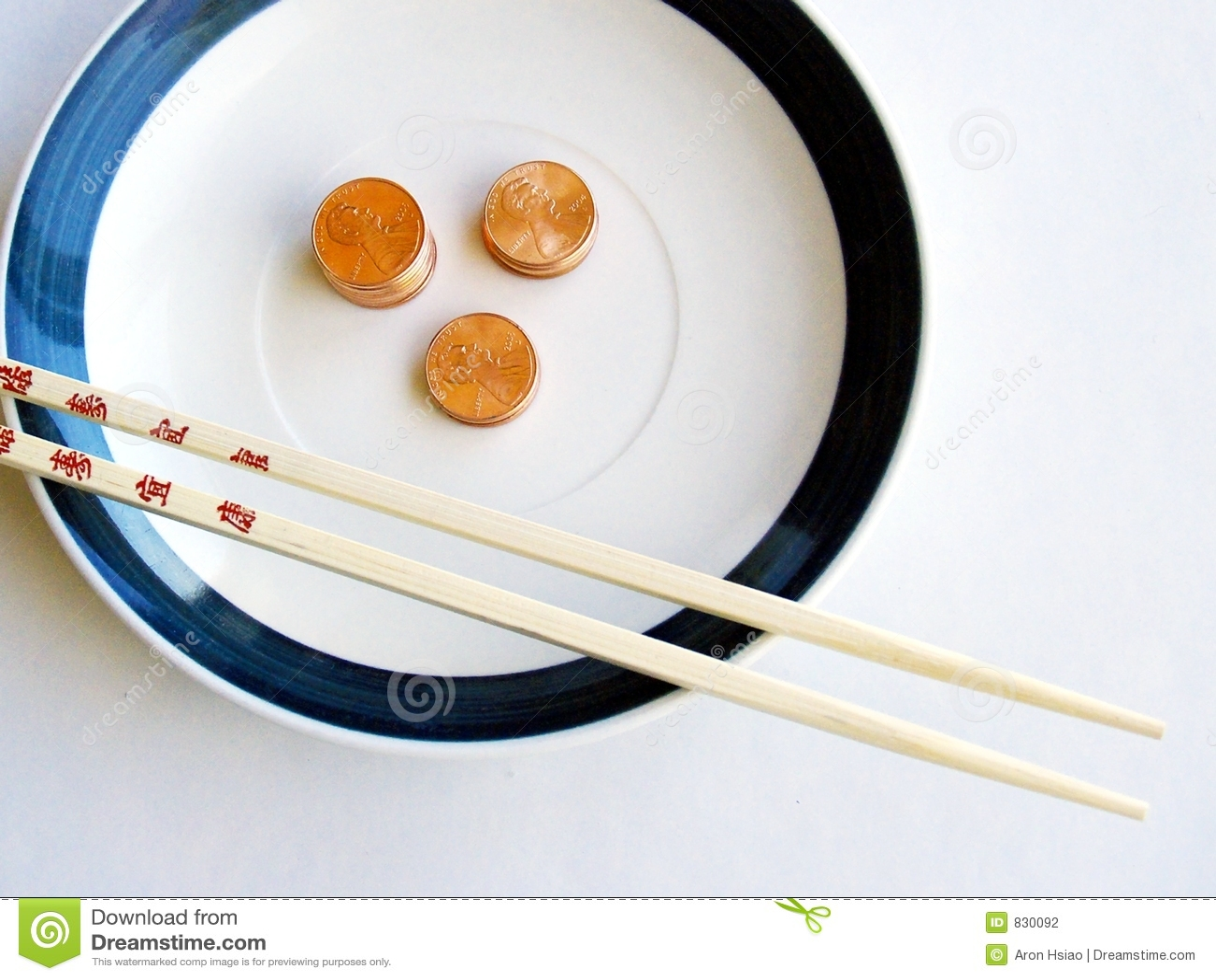 Baguettes, plaque, et penny en bambou