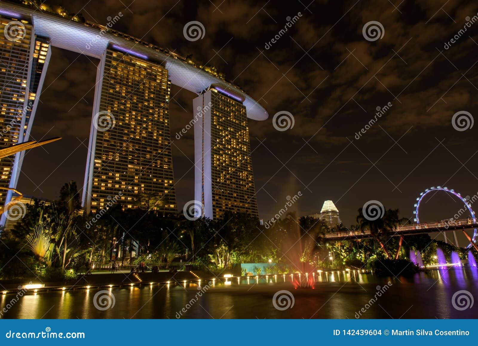 Bahía marina cerca de los jardines por la bahía Vista nocturna de la demostración ligera del árbol en Singapur