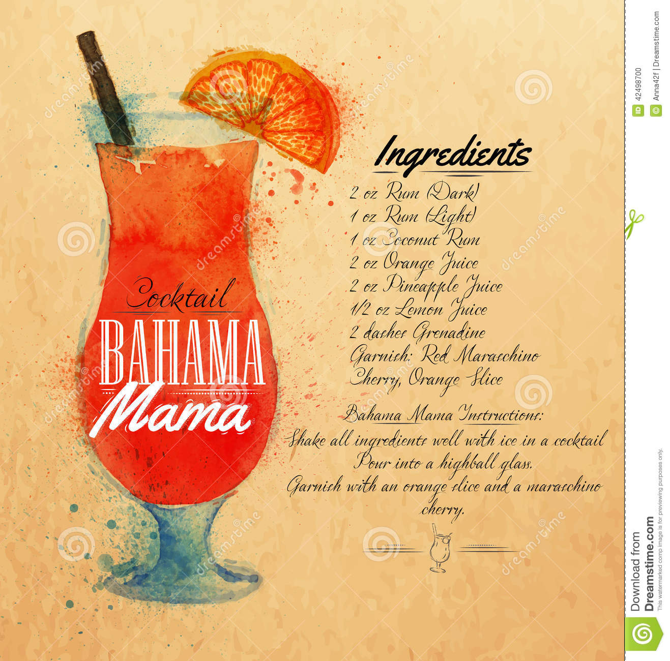 Bahama Mama Cocktails Watercolor Kraft Stock Vector