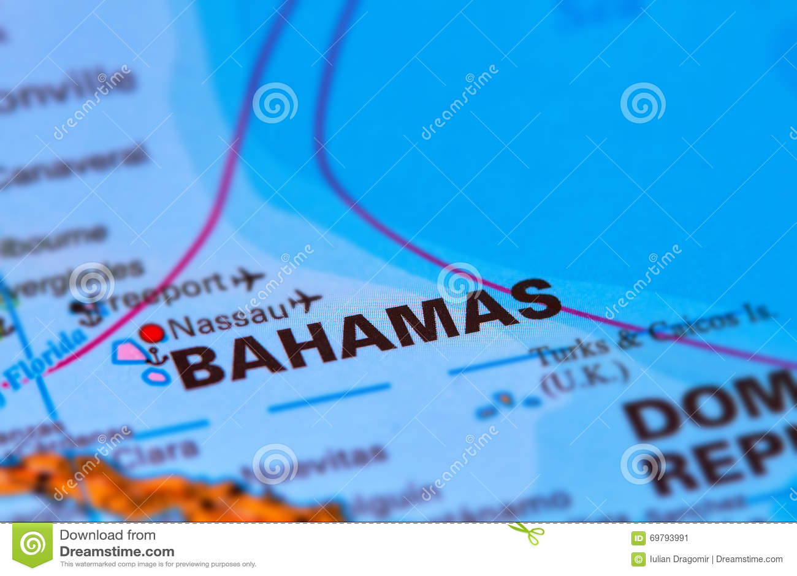 Bahamas Caribbean Island on Map