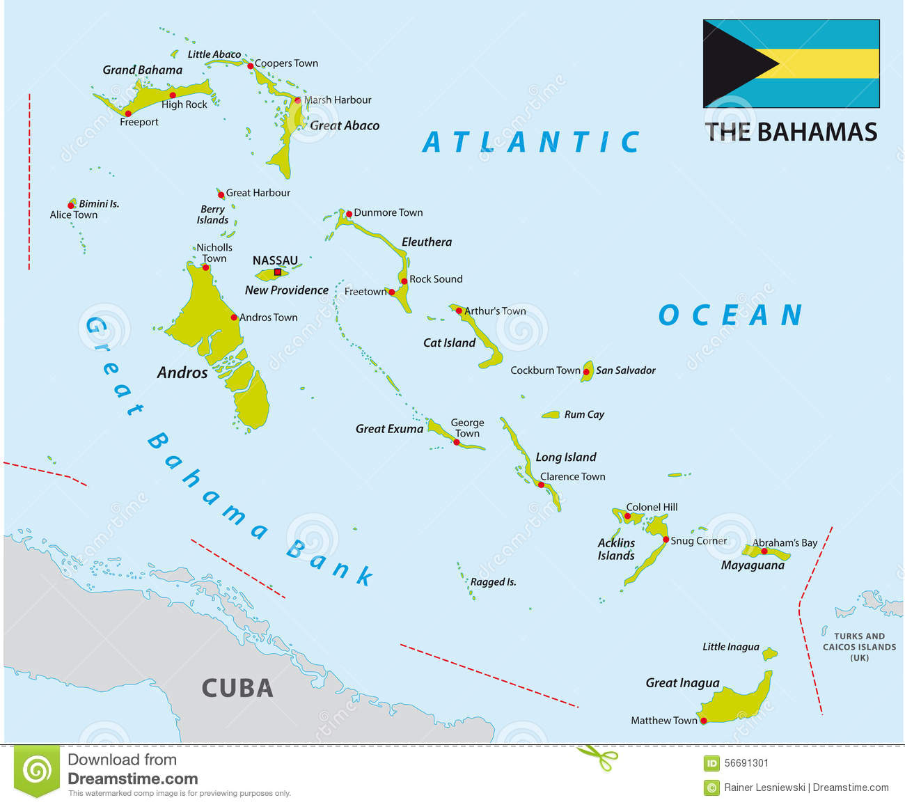 Bahamas map with flag stock illustration. Illustration of nassau ...