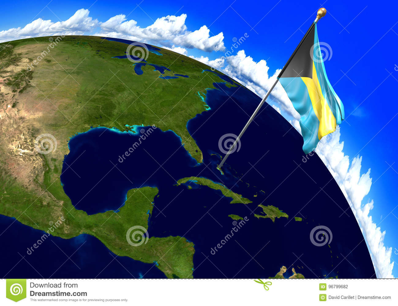 Picture of: Bahamas National Flag Marking The Country Location On World Map Stock Illustration Illustration Of National Adventure 96799682